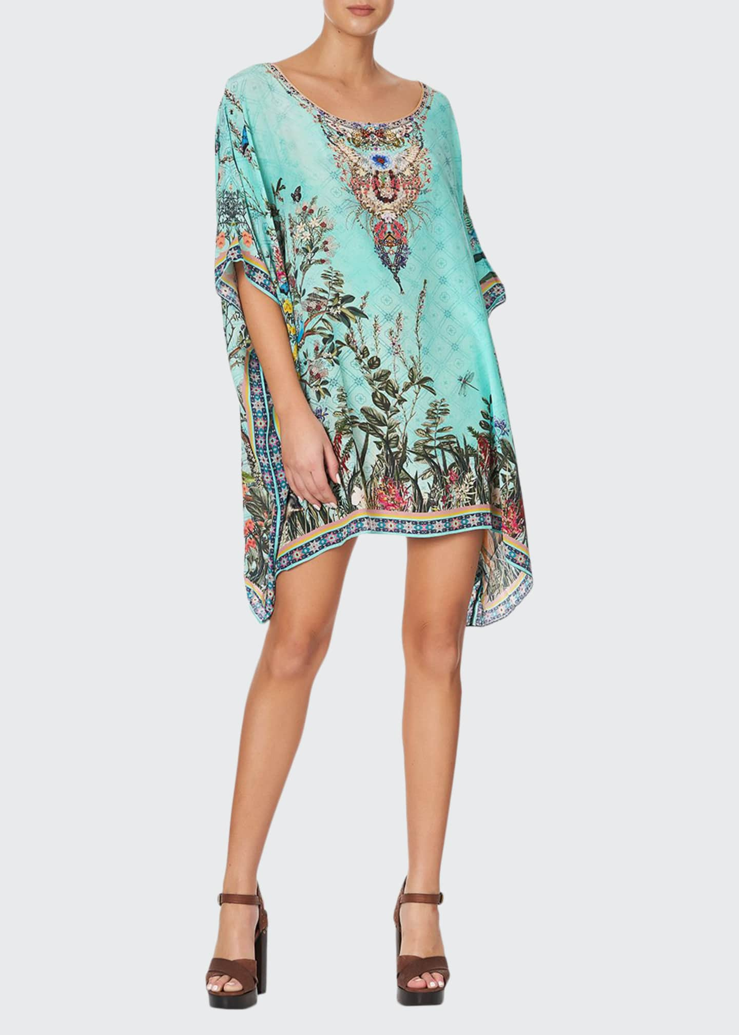 Camilla Crystal-Trim Short Round-Neck Caftan