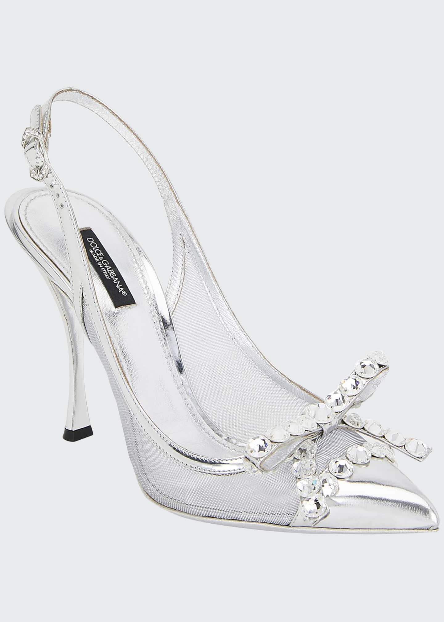 Dolce & Gabbana Slingback Crystal Metallic Pumps