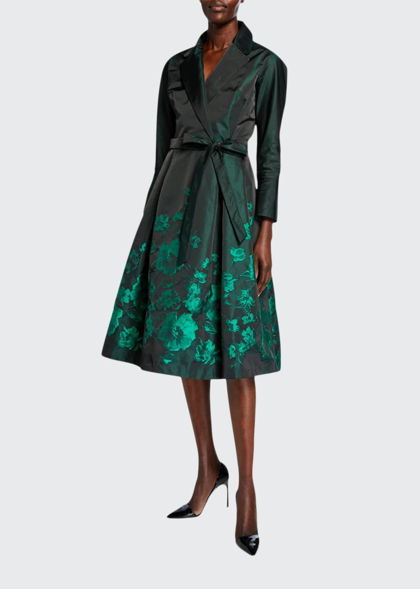 Rickie Freeman for Teri Jon Bracelet-Sleeve Taffeta Shirtdress