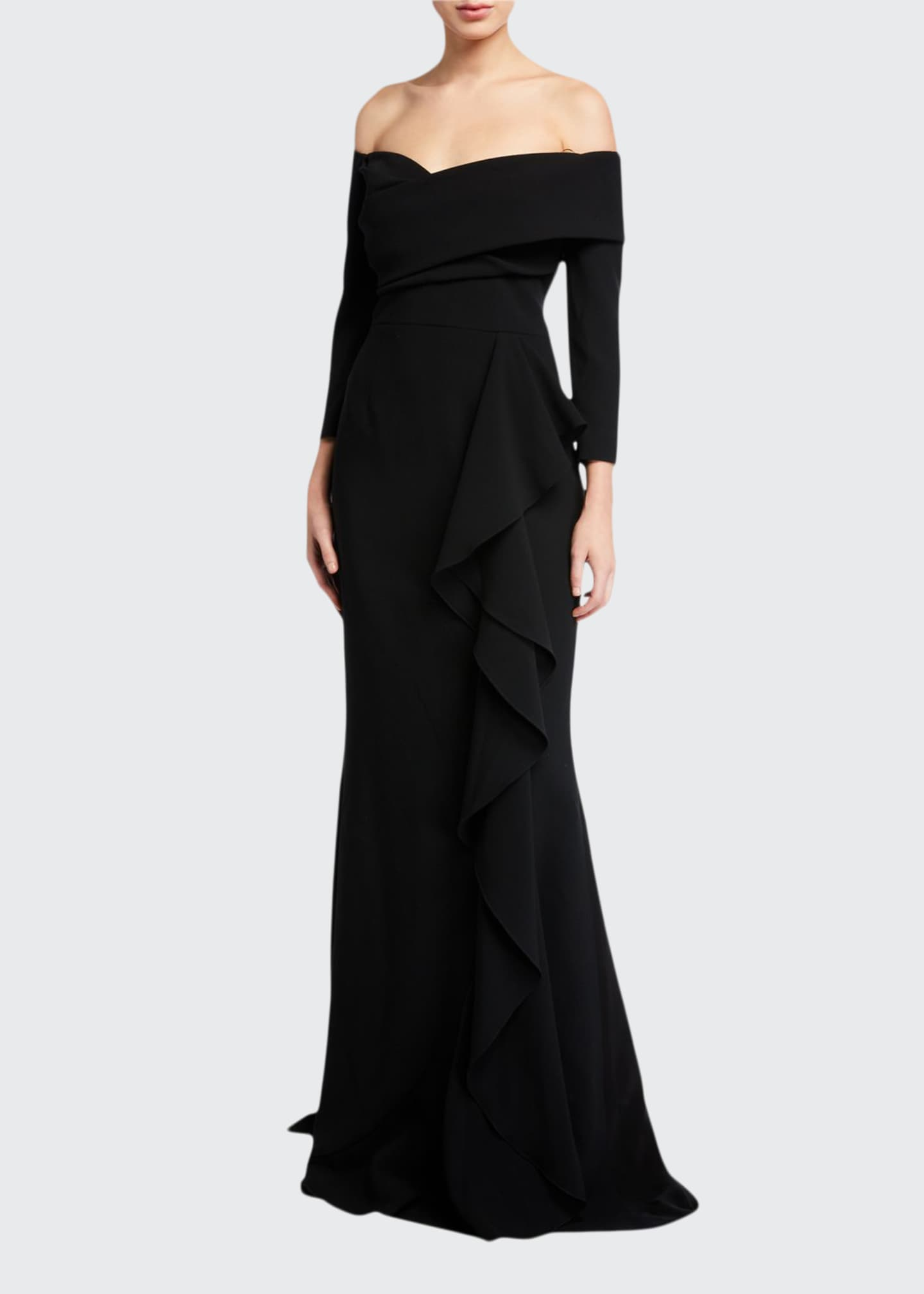 Image 1 of 2: Off-the-Shoulder 3/4-Sleeve Side Draped Crepe Gown