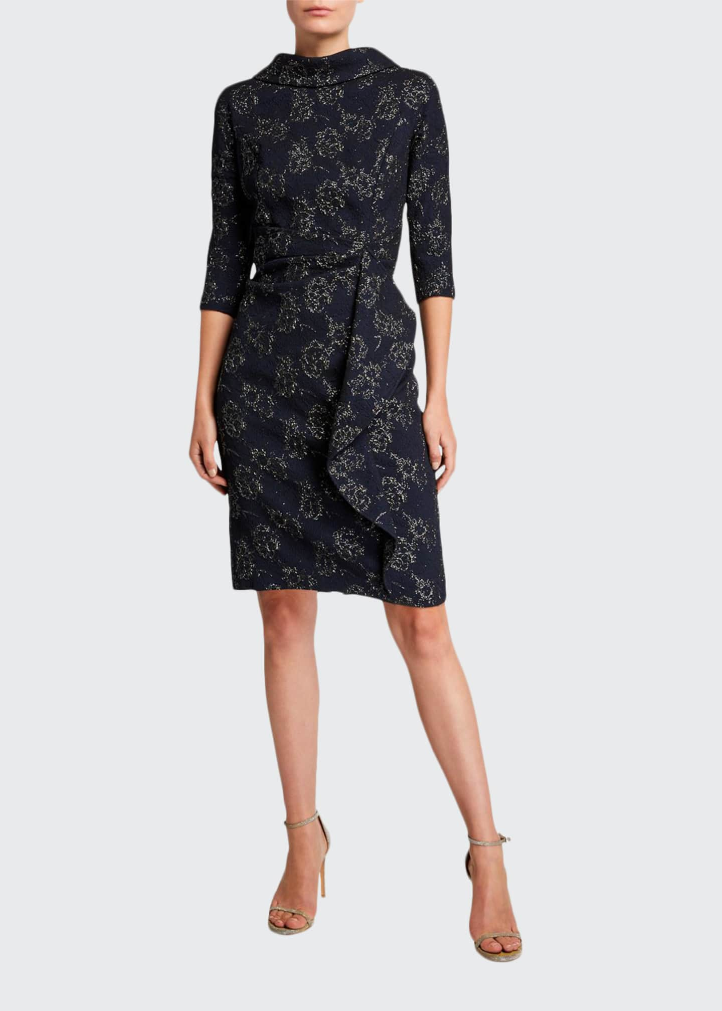 Image 1 of 2: Roll-Neck 3/4-Sleeve Stretch Jacquard Dress with Side Drape