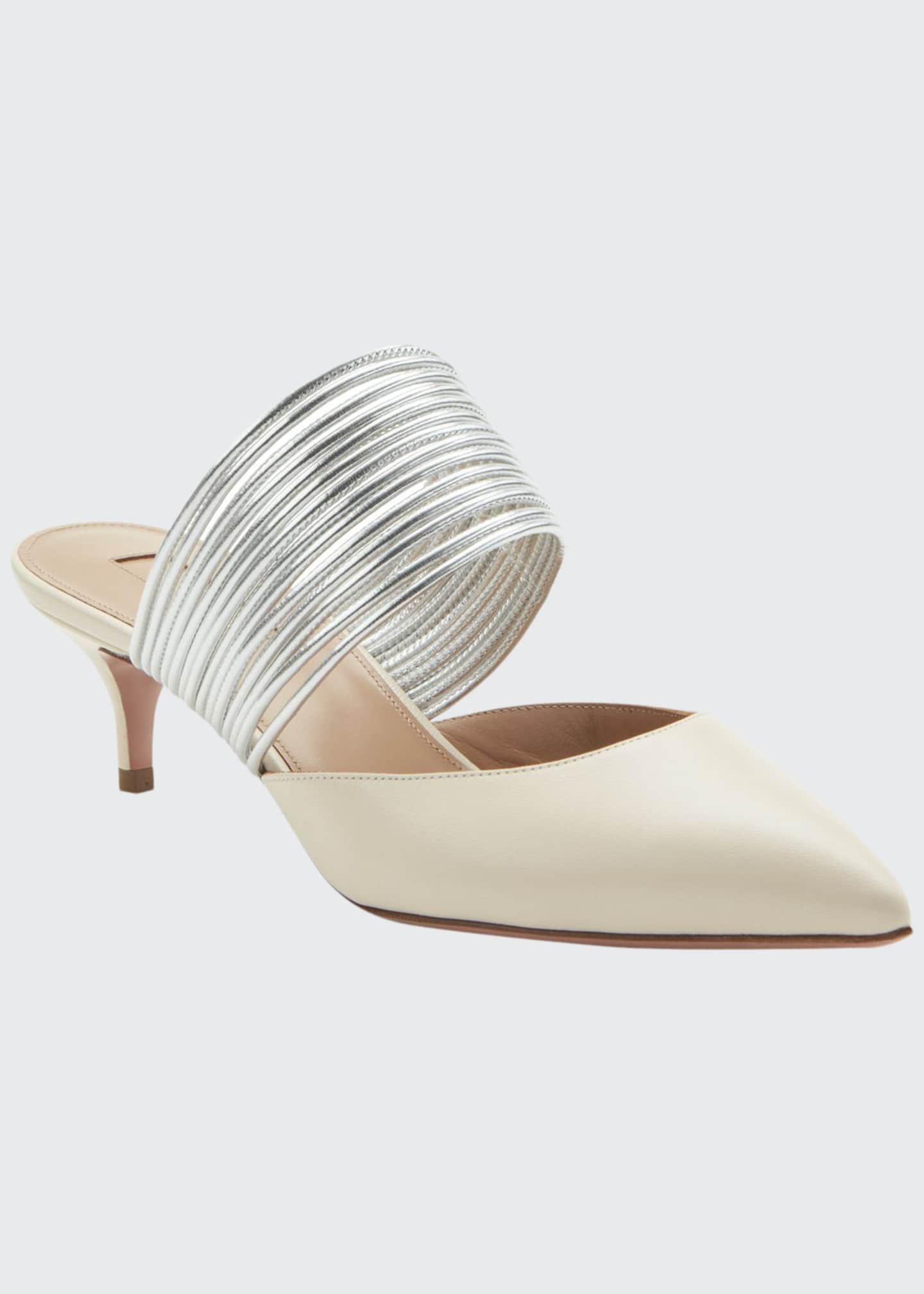 Aquazzura Rendez Vous Strappy Leather Kitten-Heel Mules