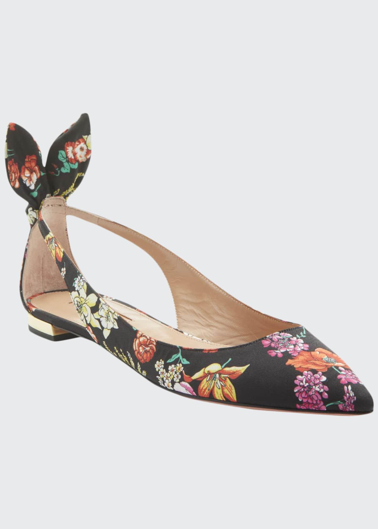 Aquazzura Deneuve Floral-Print Ballerina Flats