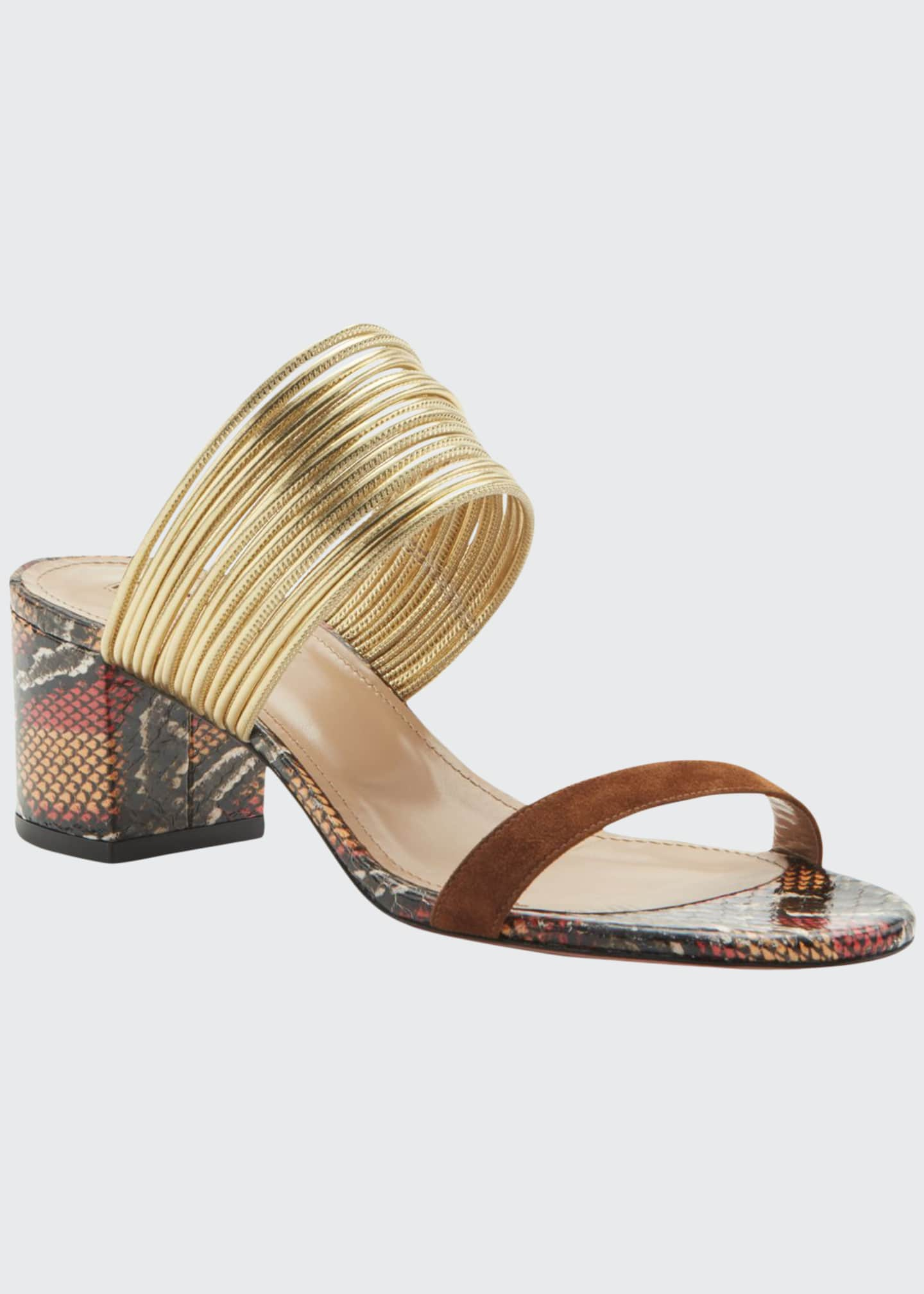 Aquazzura Rendez Vous Snake-Print Leather Slide Sandals