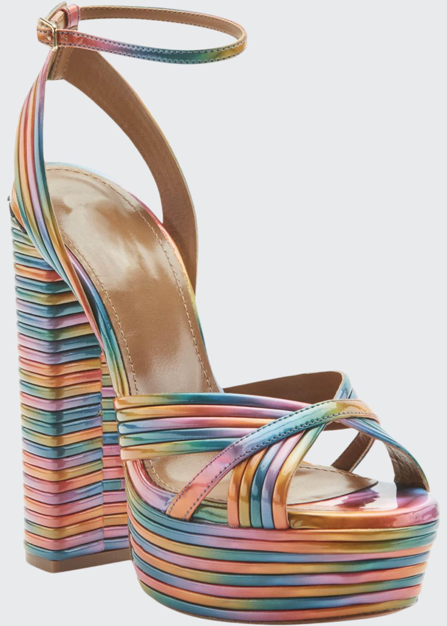 Aquazzura Sundance Plateau Rainbow Platform Sandals