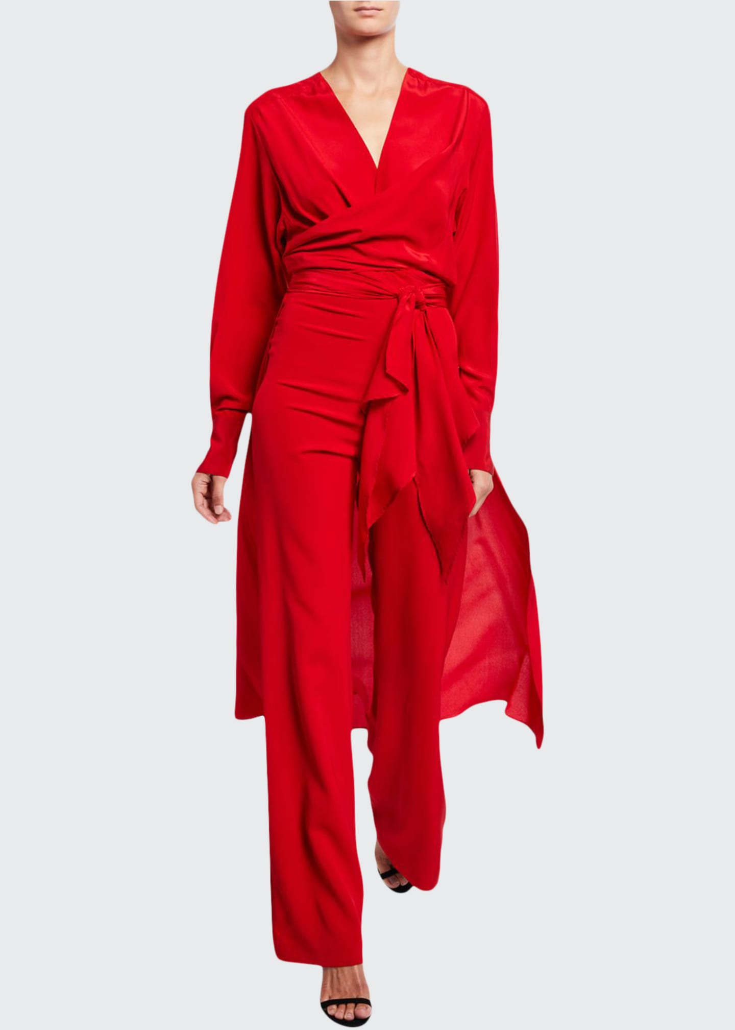 Image 1 of 2: Heidy Stretch-Silk Deep-V Jumpsuit