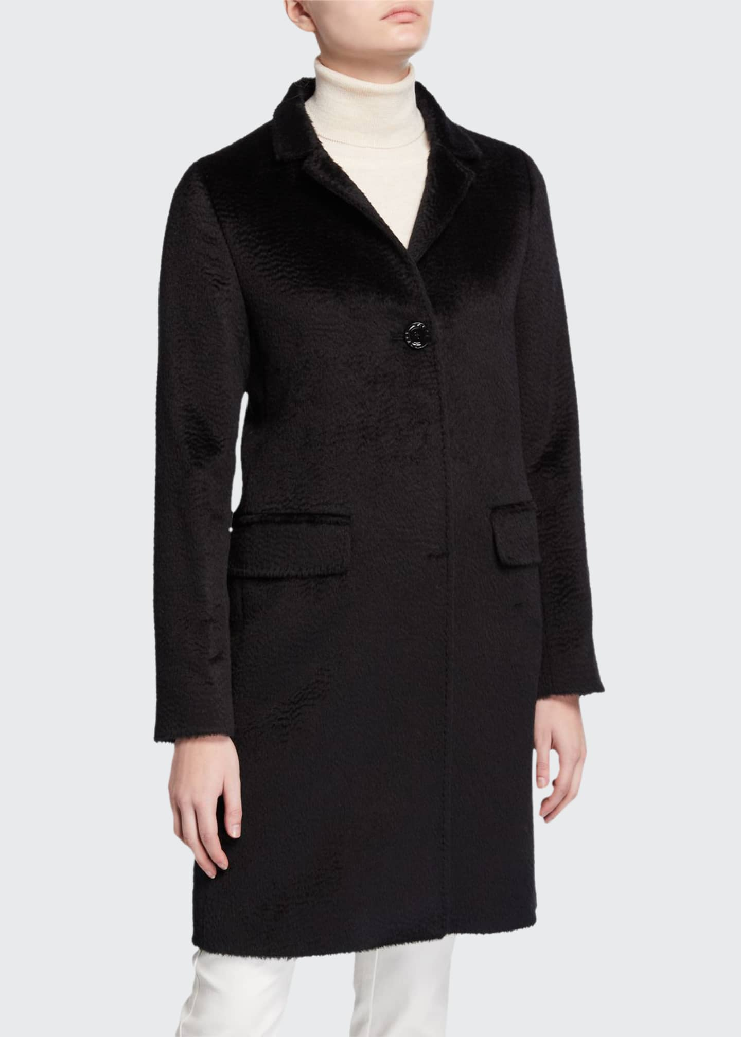 Cinzia Rocca Walker Single-Breasted Pea Coat, Black