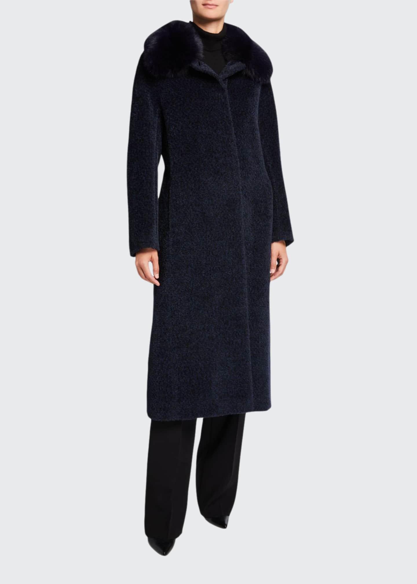 Cinzia Rocca Fox Fur-Collar Long Coat