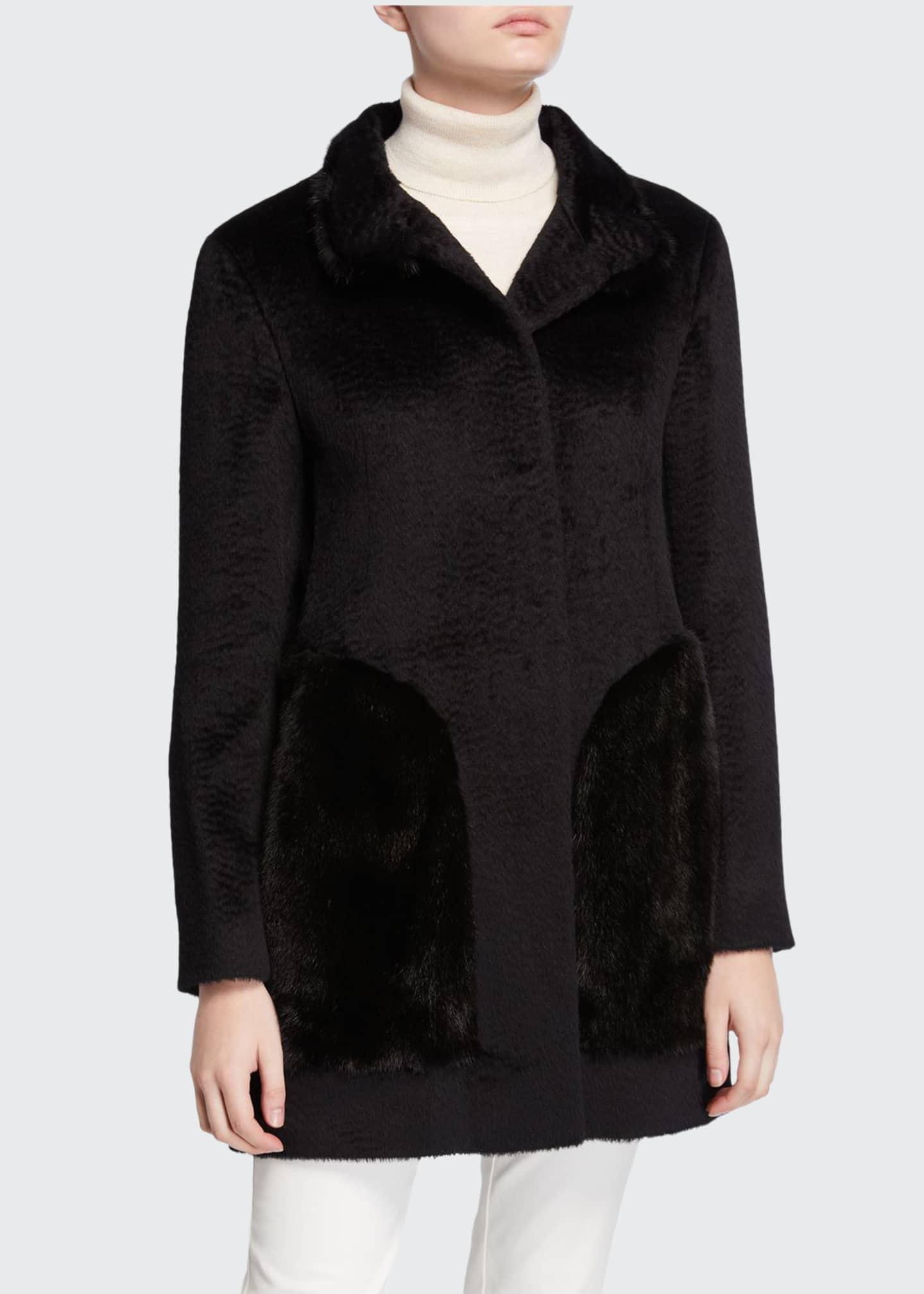 Cinzia Rocca Mink Fur-Pocket Baby Suri Alpaca Coat