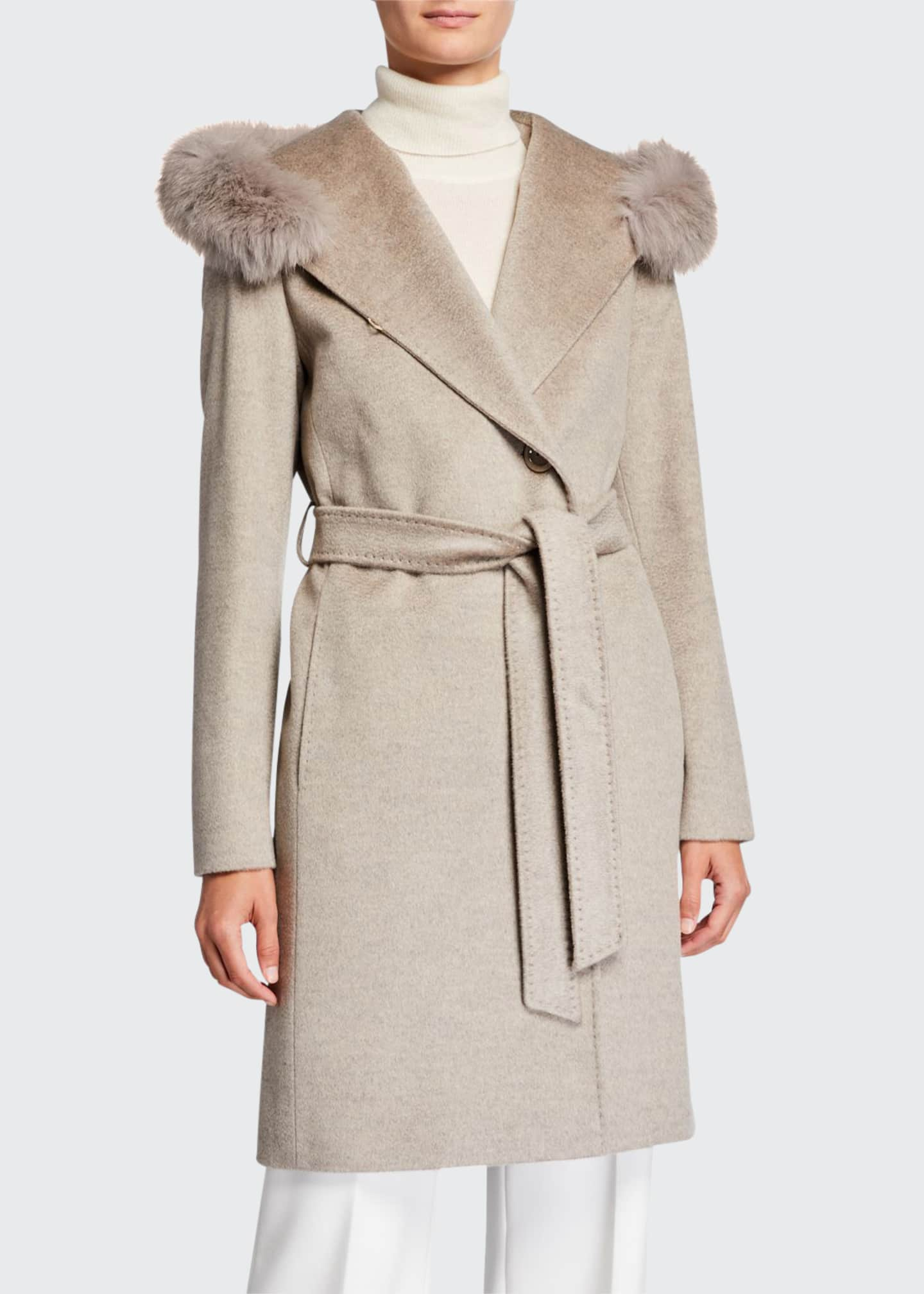 Cinzia Rocca Fox-Trim Hooded Virgin Wool Wrap Coat