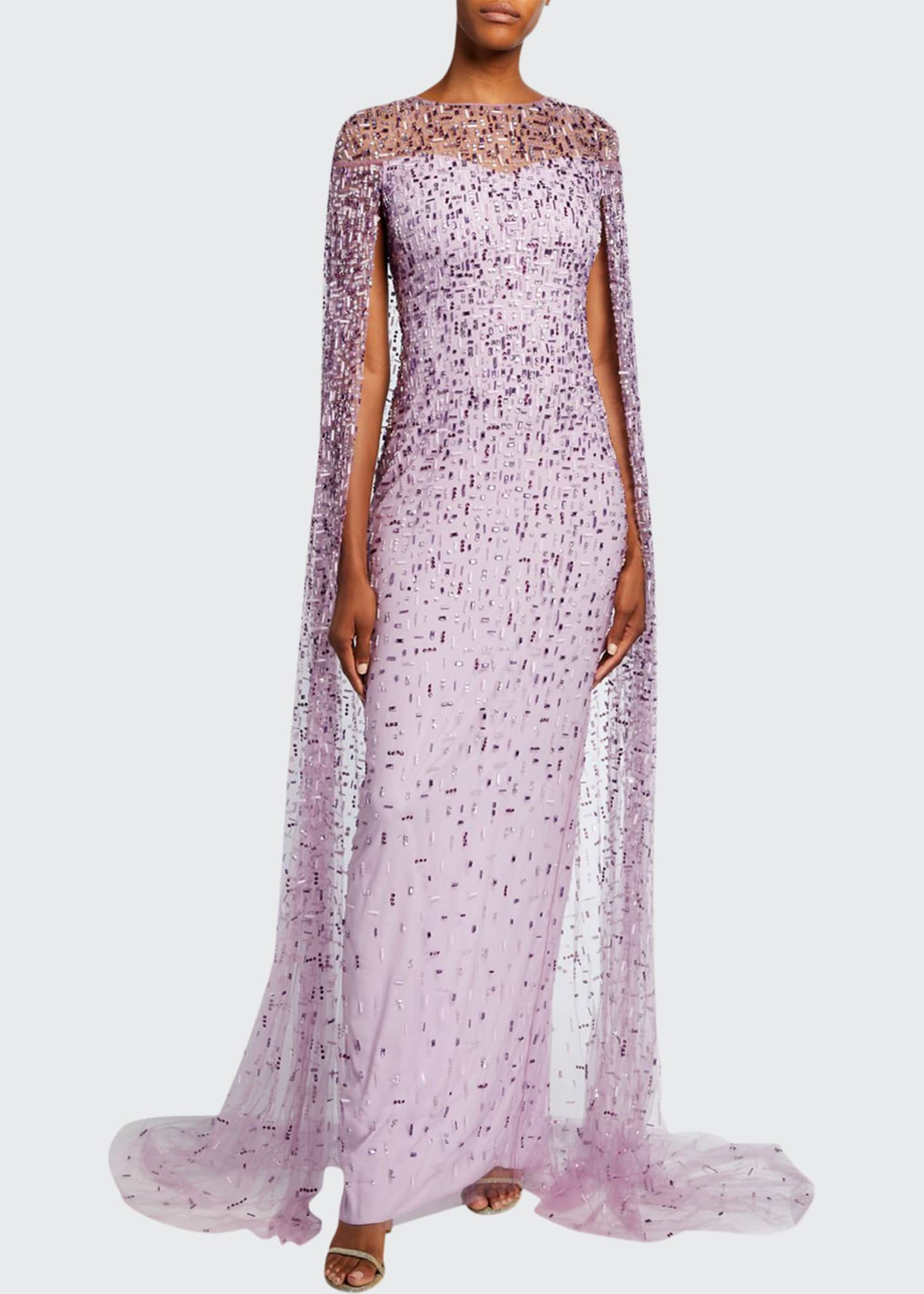 Image 1 of 2: Geometric-Beaded Caped Illusion Gown