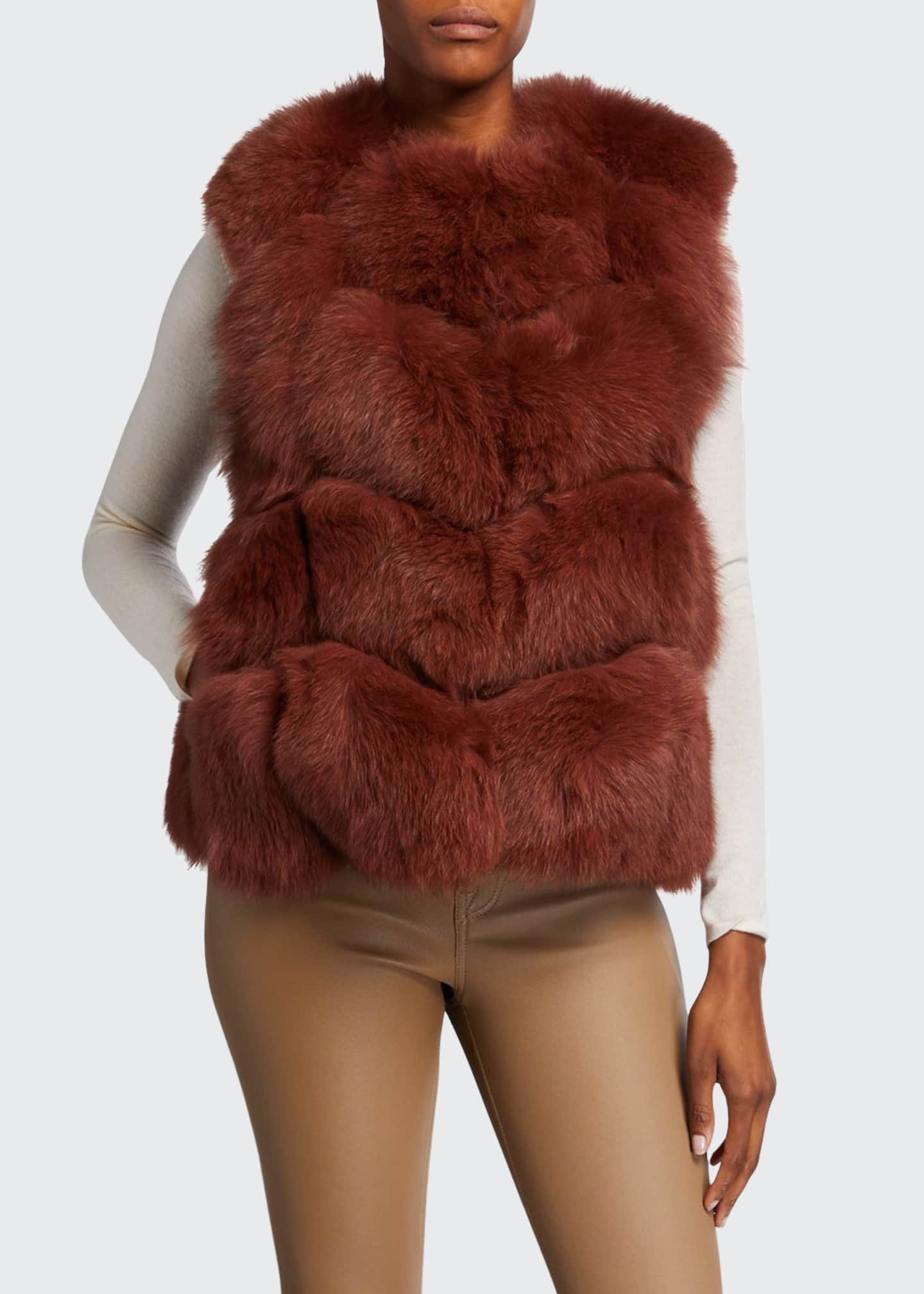 Adrienne Landau Let Out Fox Fur Vest