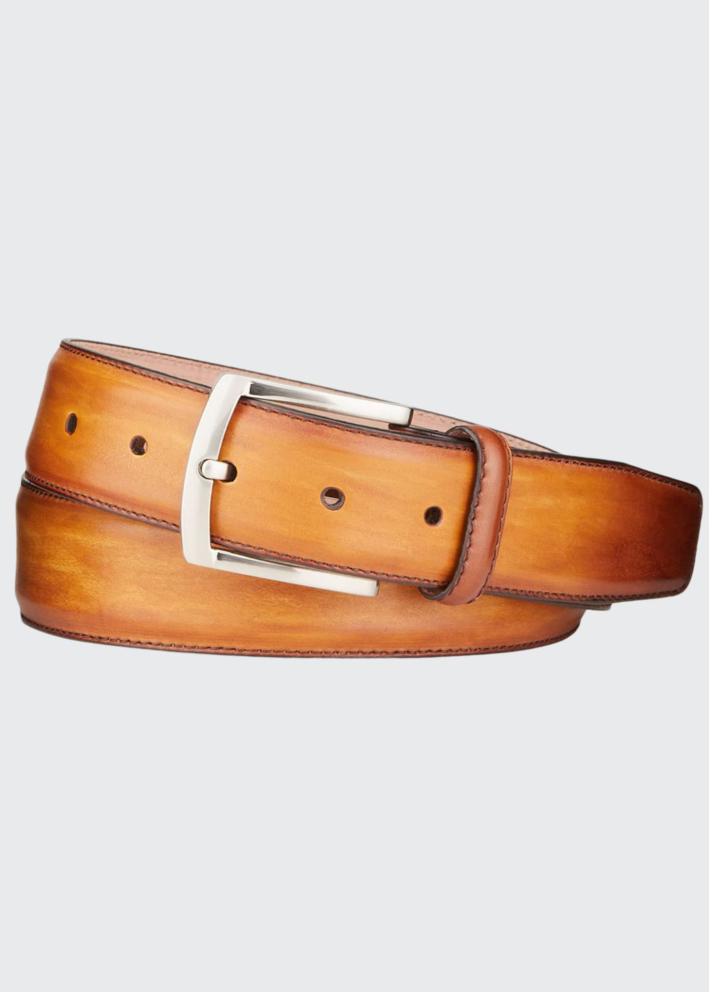 Image 1 of 1: Men's Square-Buckle Calf Leather Belt