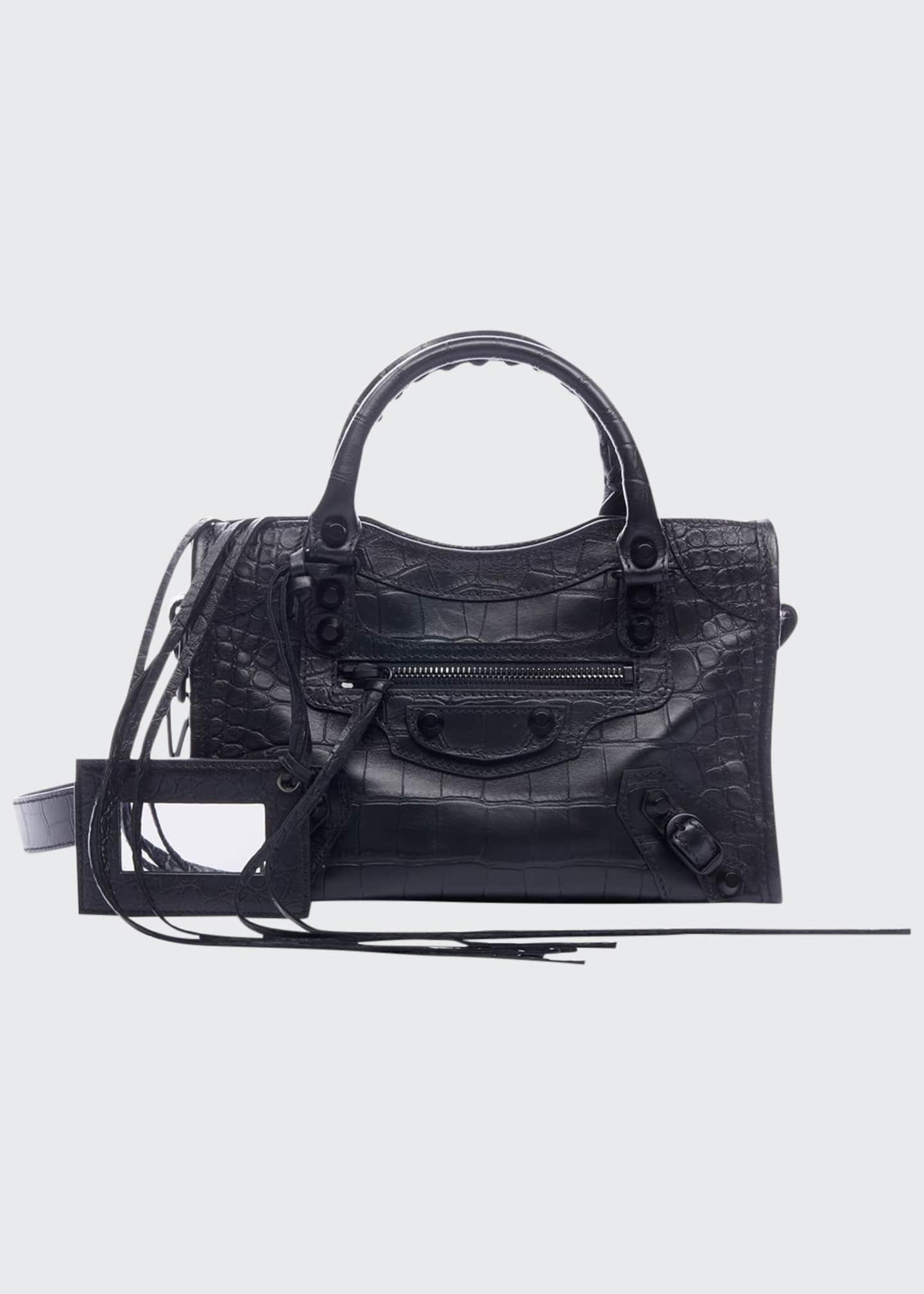 Balenciaga AJ Classic Mini Croc-Embossed Satchel Bag
