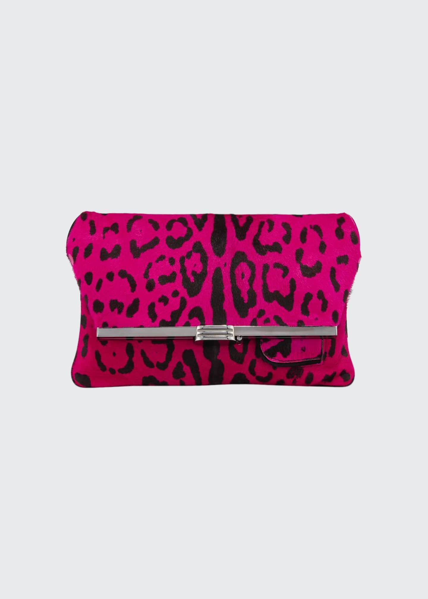 Bienen Davis Leopard Calf Hair Clutch Bag