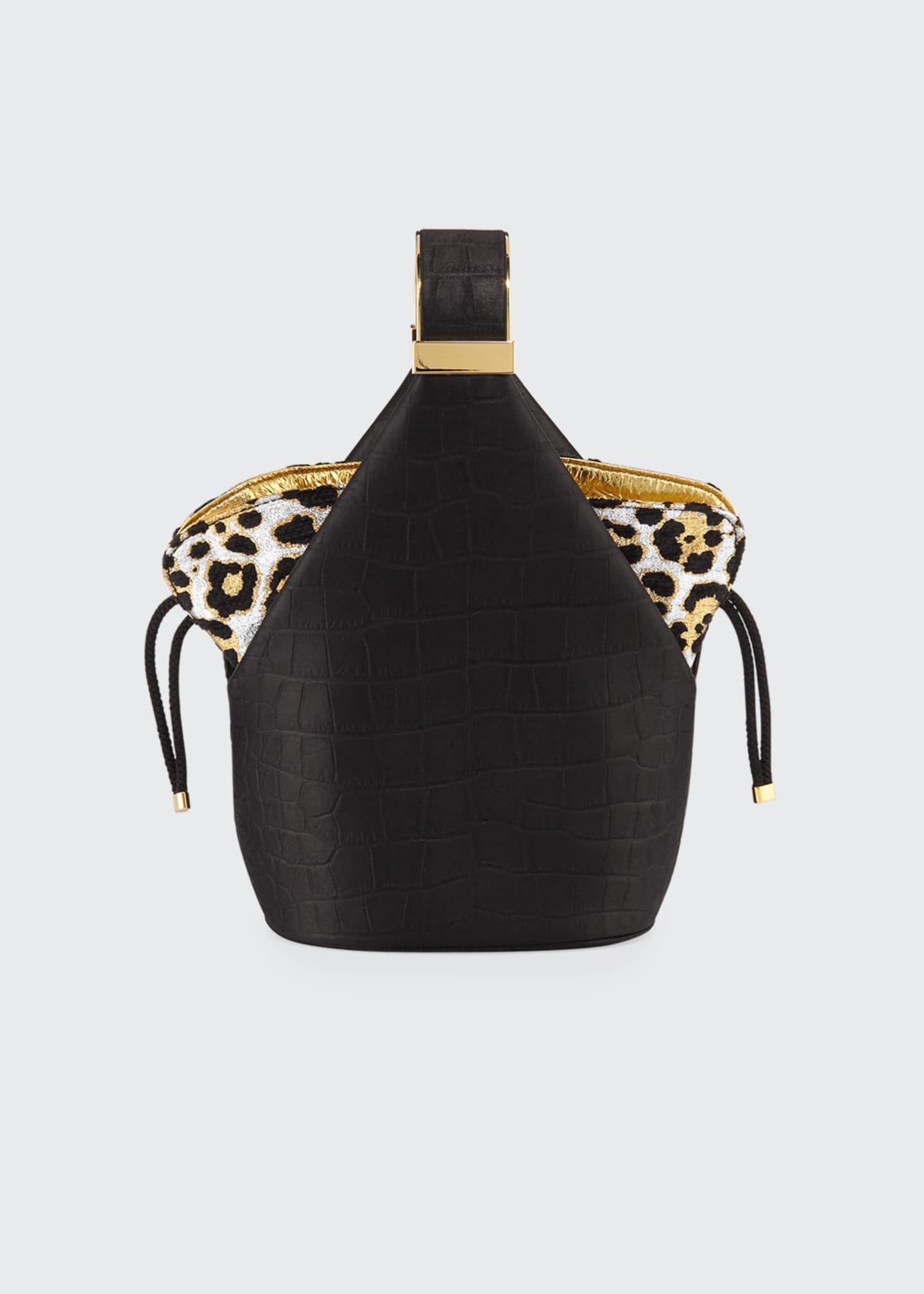 Bienen Davis Kit Croc-Embossed and Leopard Bucket Bag