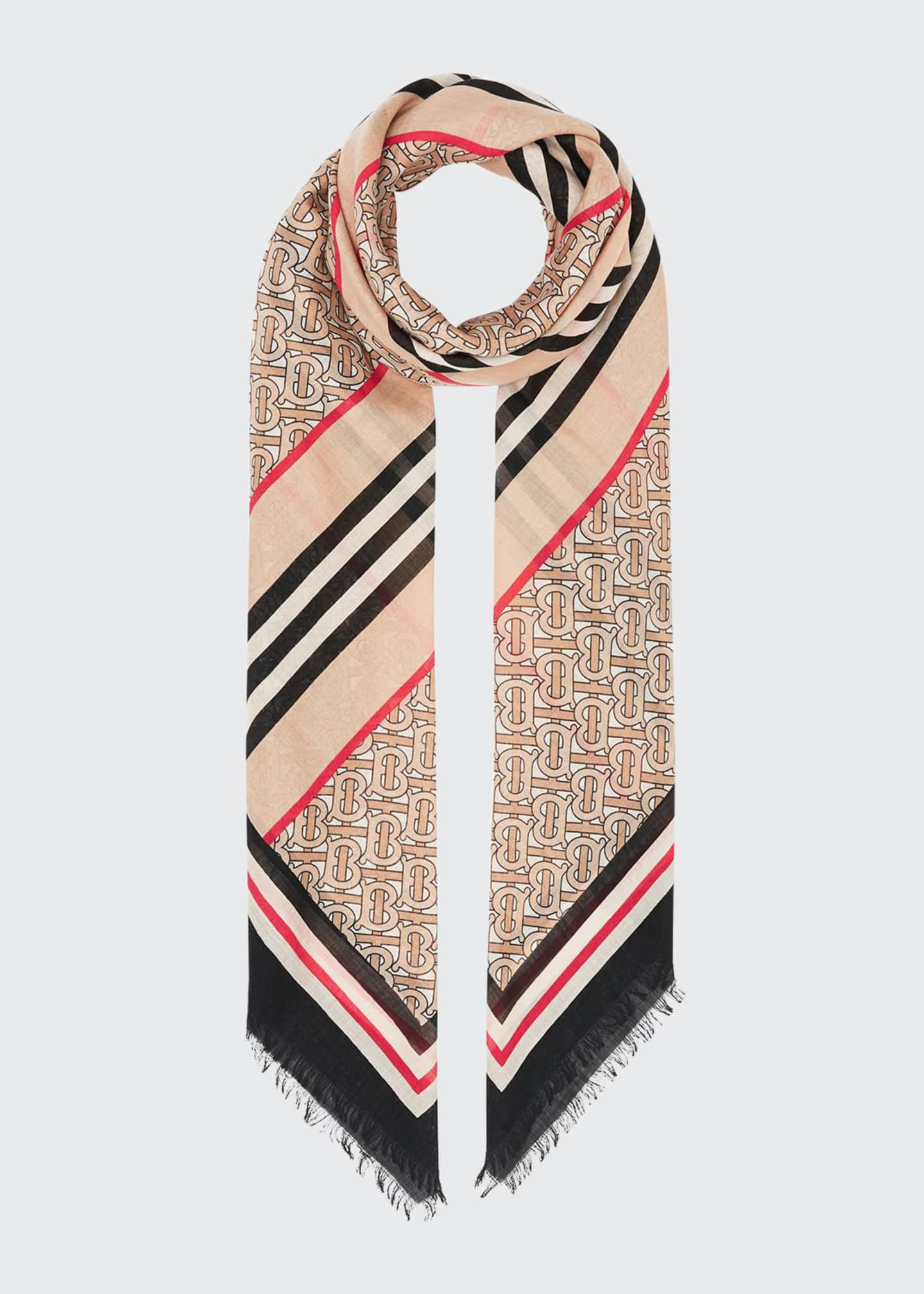 Image 1 of 4: Monogram Icon Stripe Gauze Square Scarf