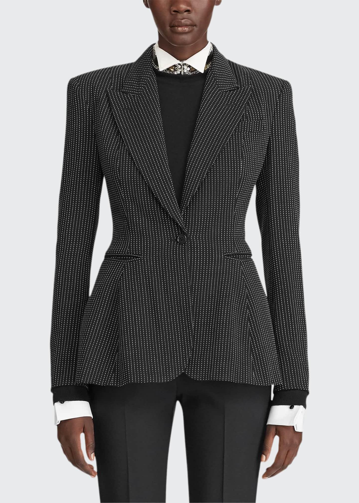 Ralph Lauren Collection Arding Pinstriped Pixelated Peplum Jacket