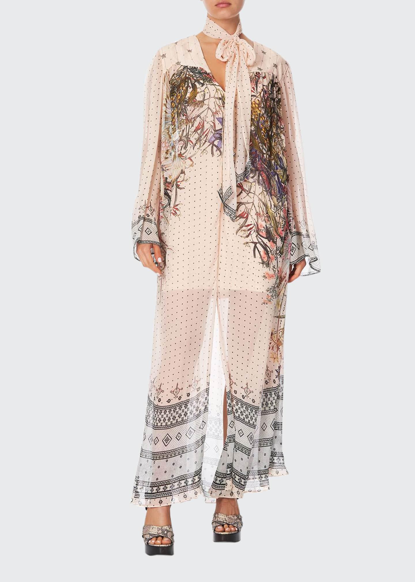 Camilla Printed Long-Sleeve Yoked Dress with Scarf
