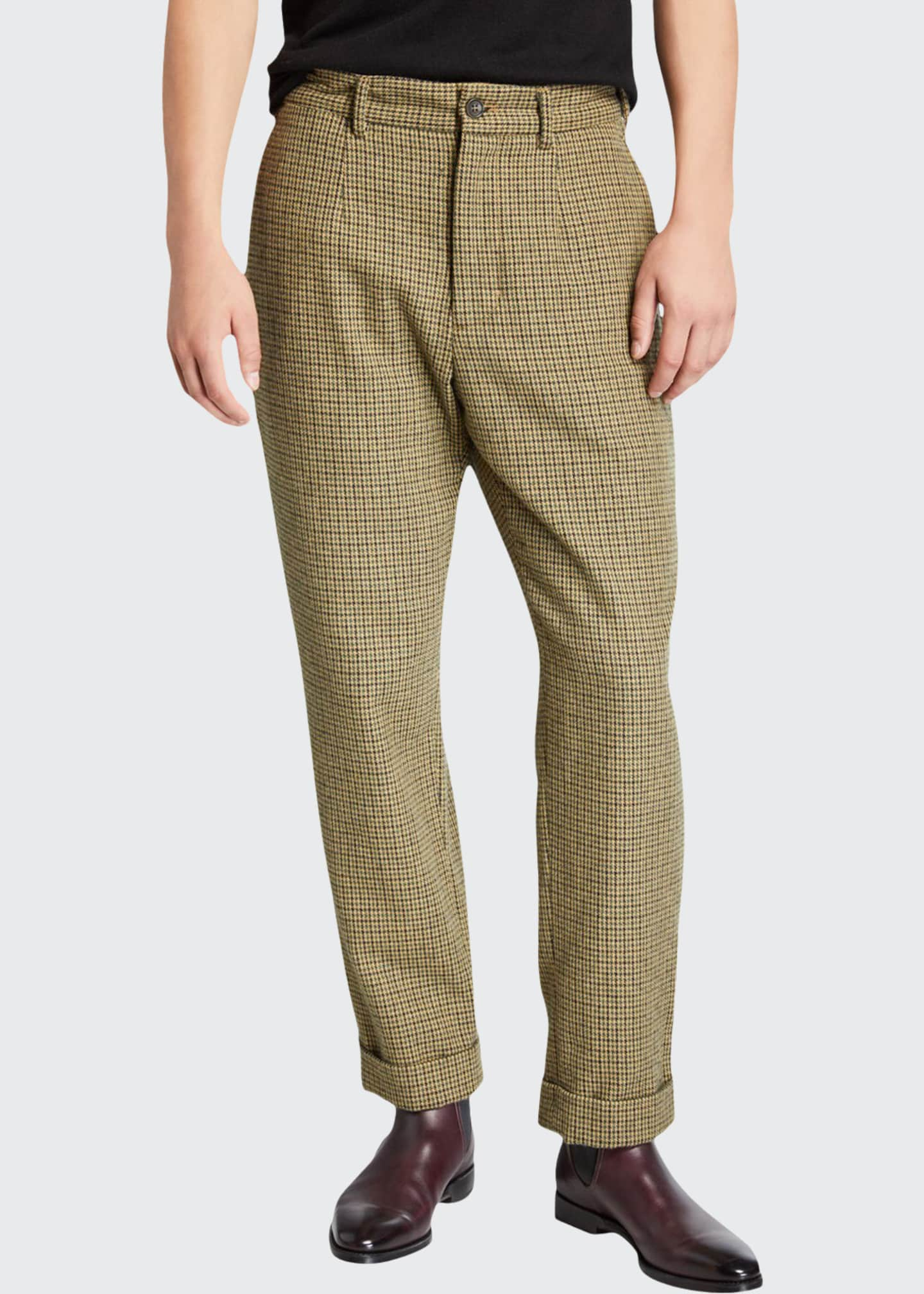 Engineered Garments Men's Andover Check Pleated Pants,