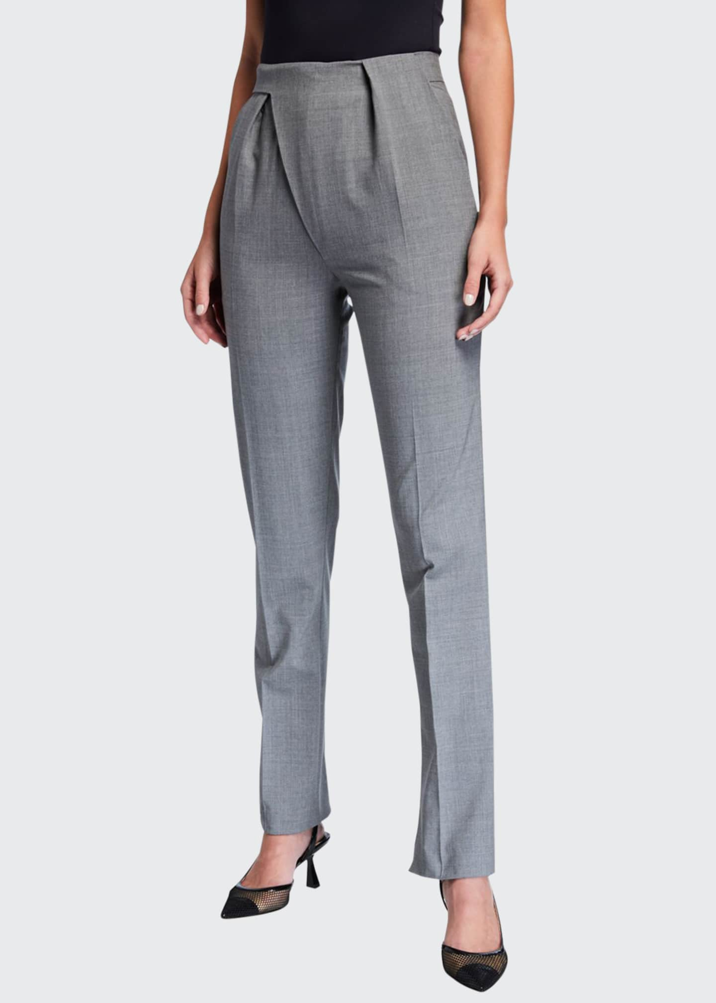 Image 1 of 3: Stretch Wool Asymmetric Tailored Trousers