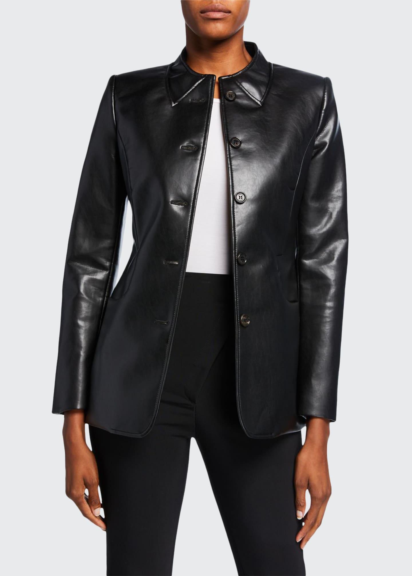 Coperni Trompe l'Oeil-Collar Tailored Faux-Leather Jacket