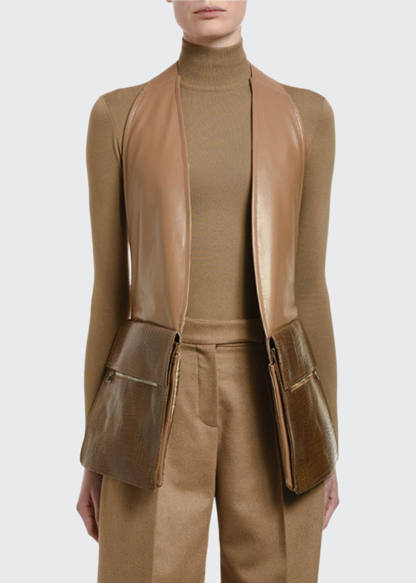Maxmara Peirak Leather Gilet w/ Utility Pockets