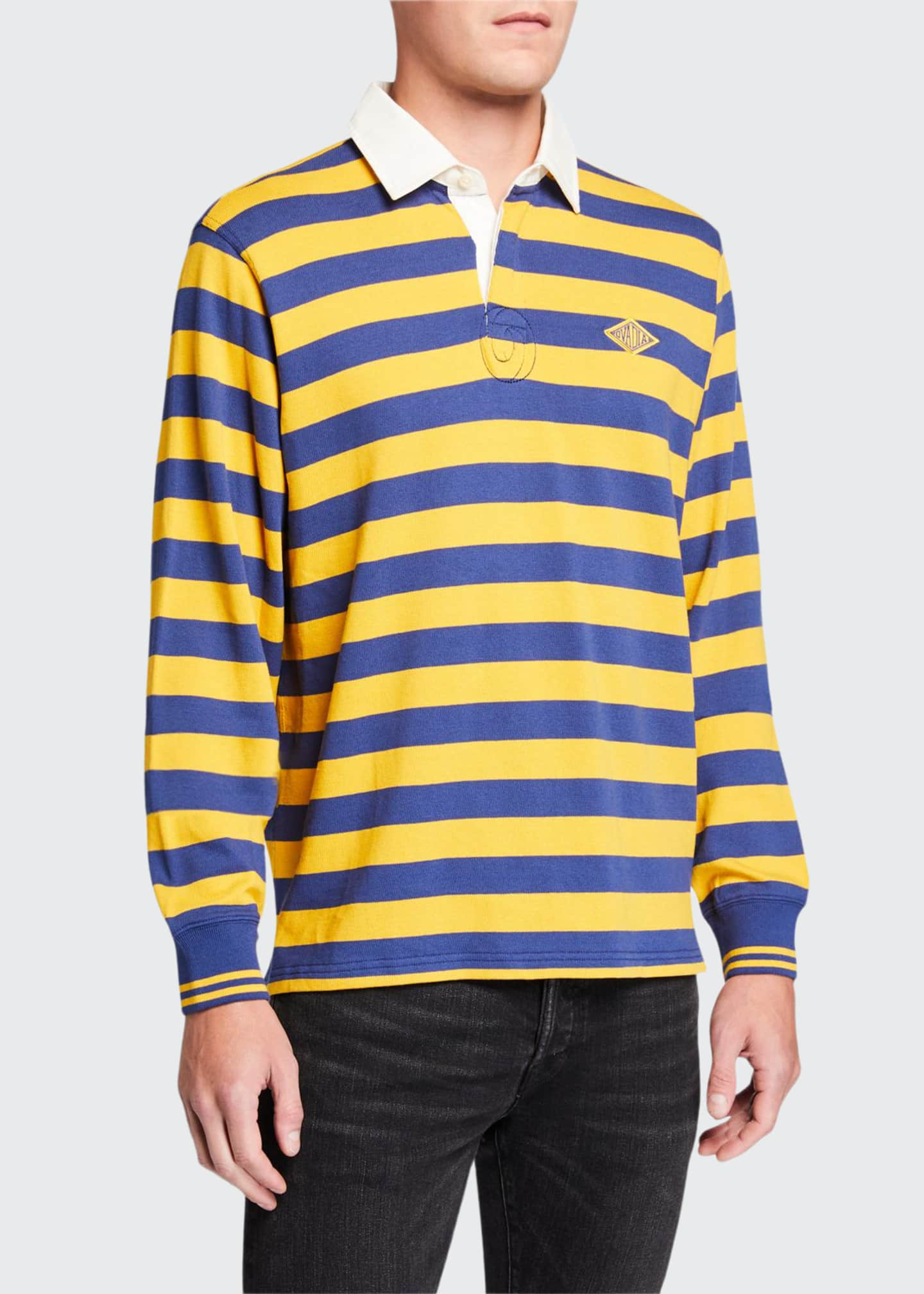 Image 1 of 2: Men's Monogram Rugby Striped Long-Sleeve Polo Shirt