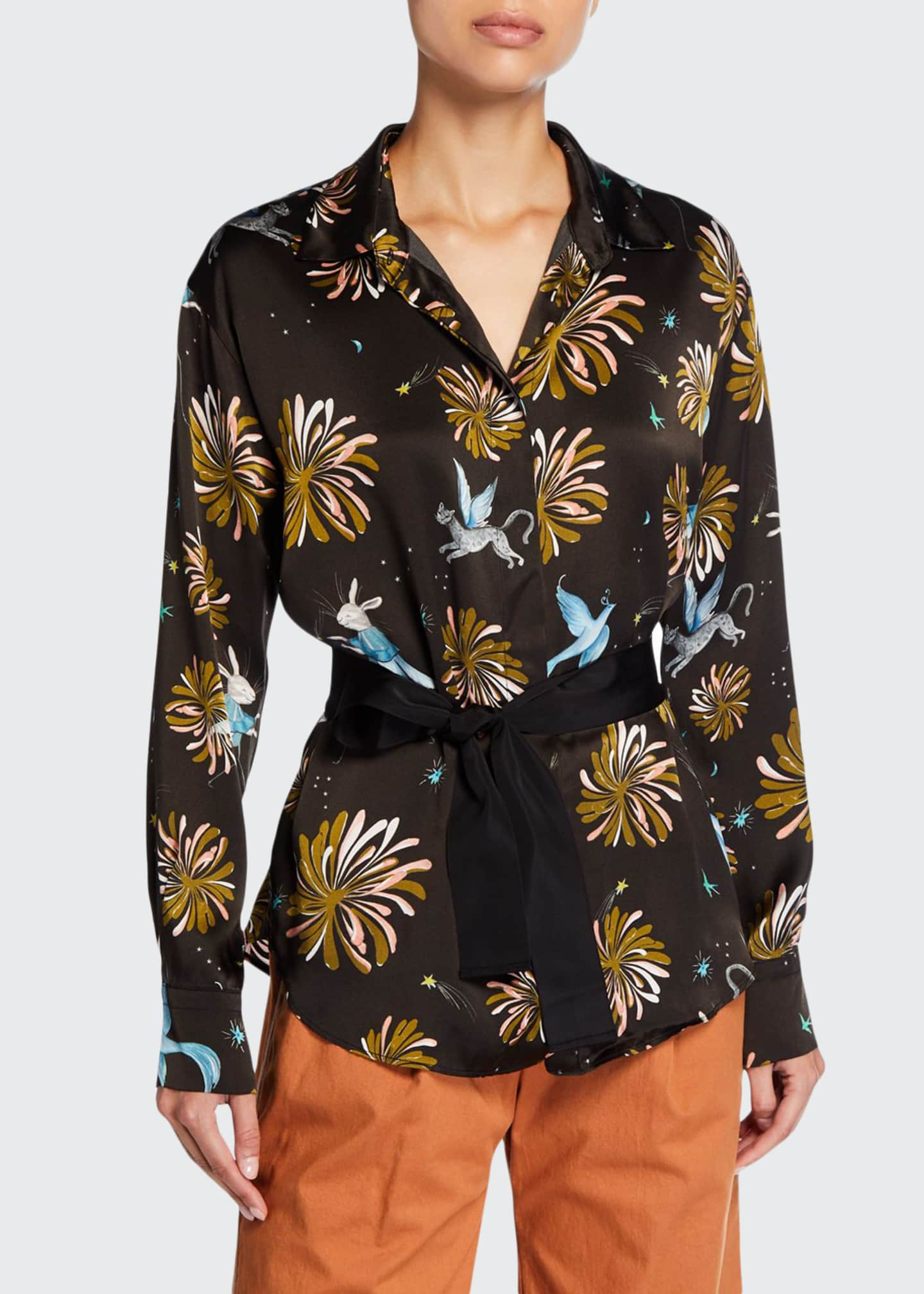 Forte Forte Printed Silk Satin Oversized Shirt