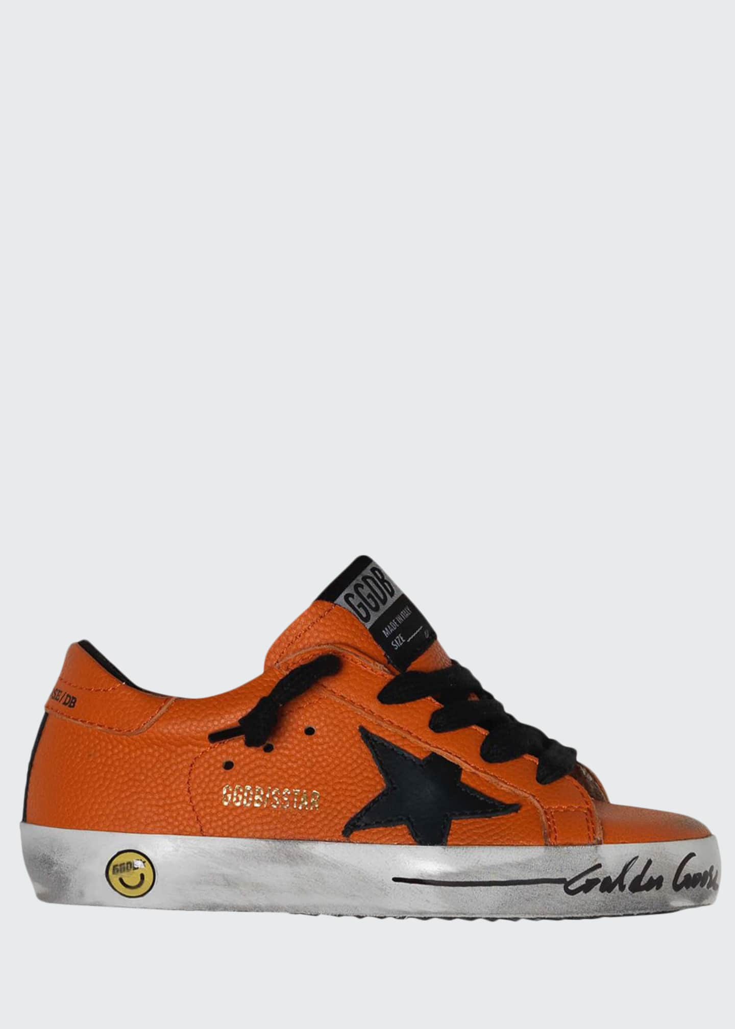 Golden Goose Boy's Basketball Leather Superstar Sneakers,