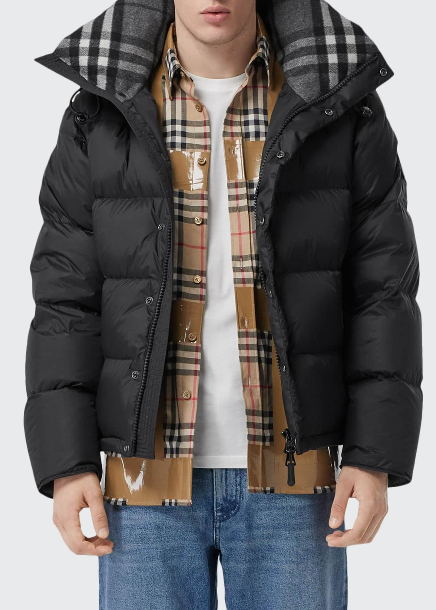 Image 1 of 5: Men's Lockwell Quilted Puffer Jacket w/ Signature Check Trim