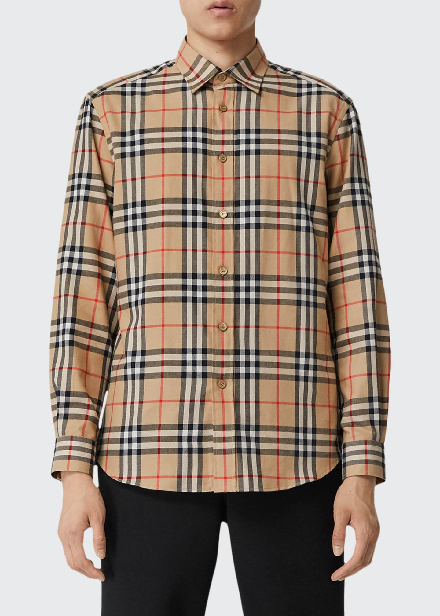 Burberry Men's Chambers Check Flannel Sport Shirt, Beige