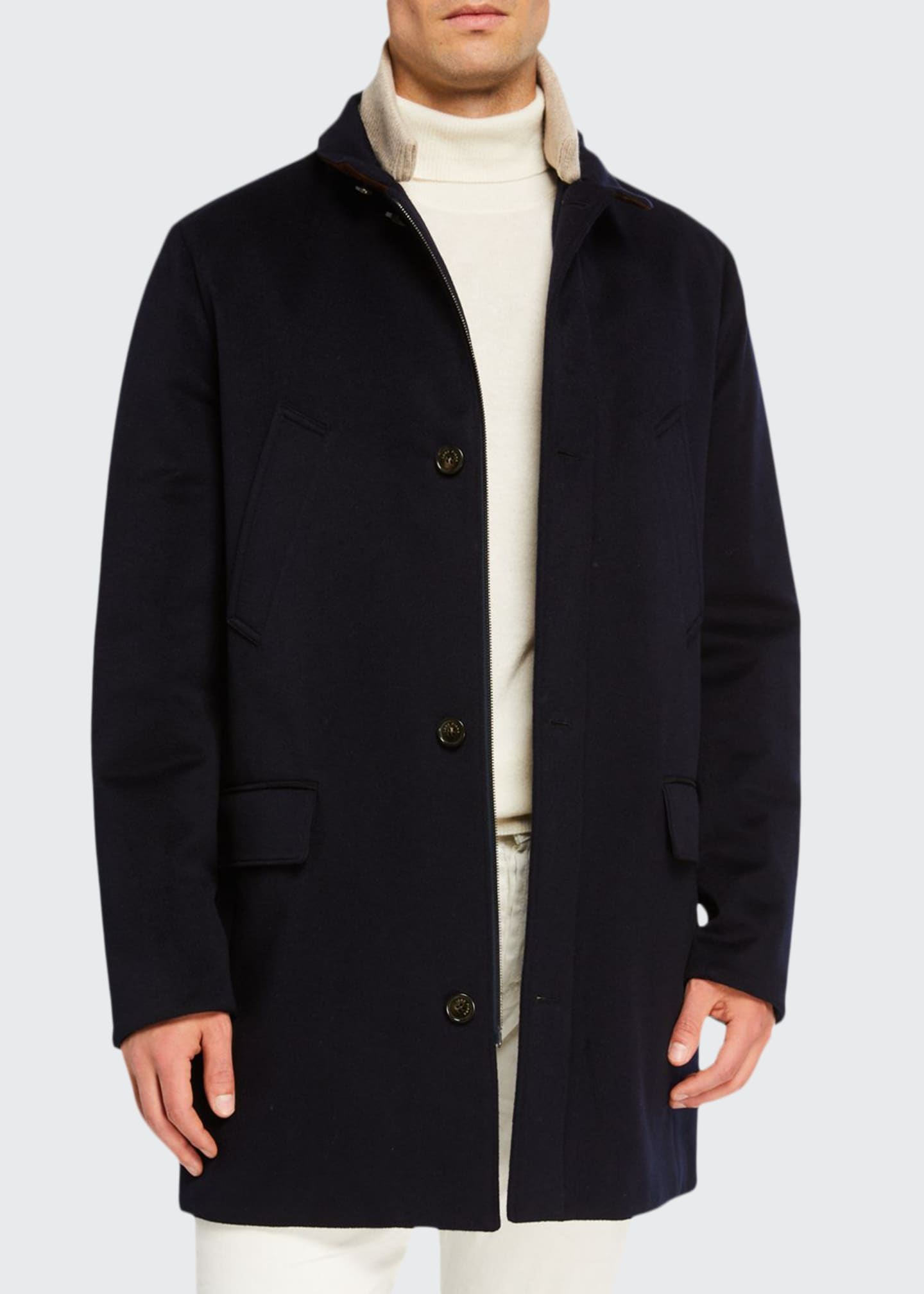 Loro Piana Men's Brookland Suede-Collar Cashmere Storm Coat