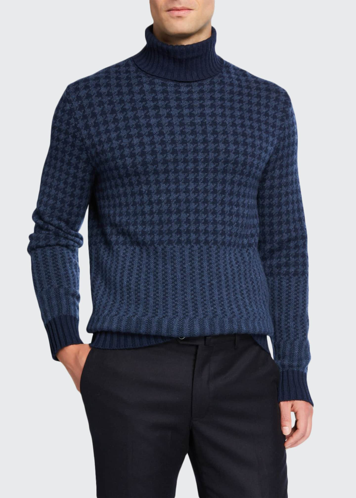 Loro Piana Men's Cabled Herringbone Cashmere Turtleneck Sweater