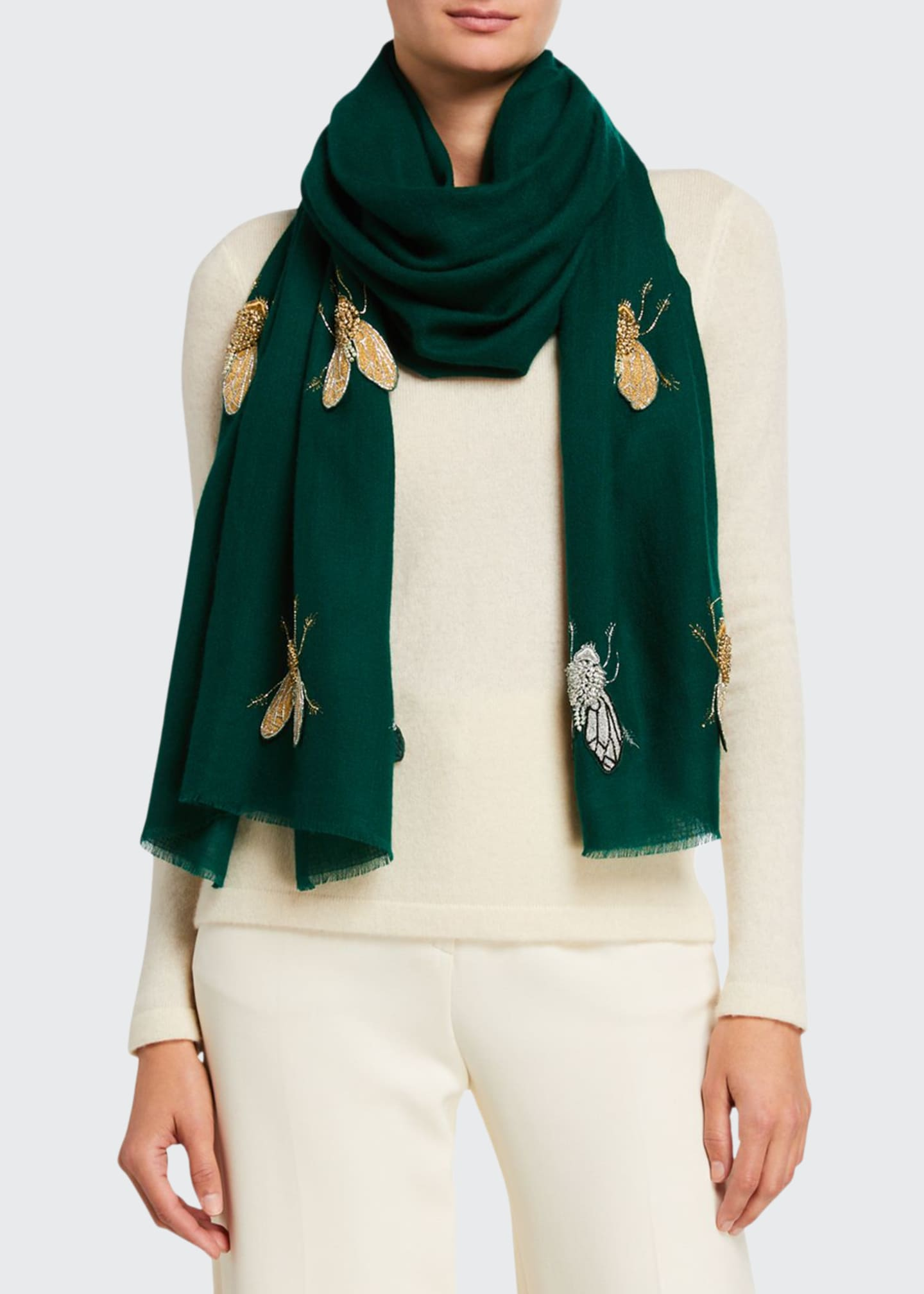 Image 1 of 2: Beaded Flies Cashmere Scarf