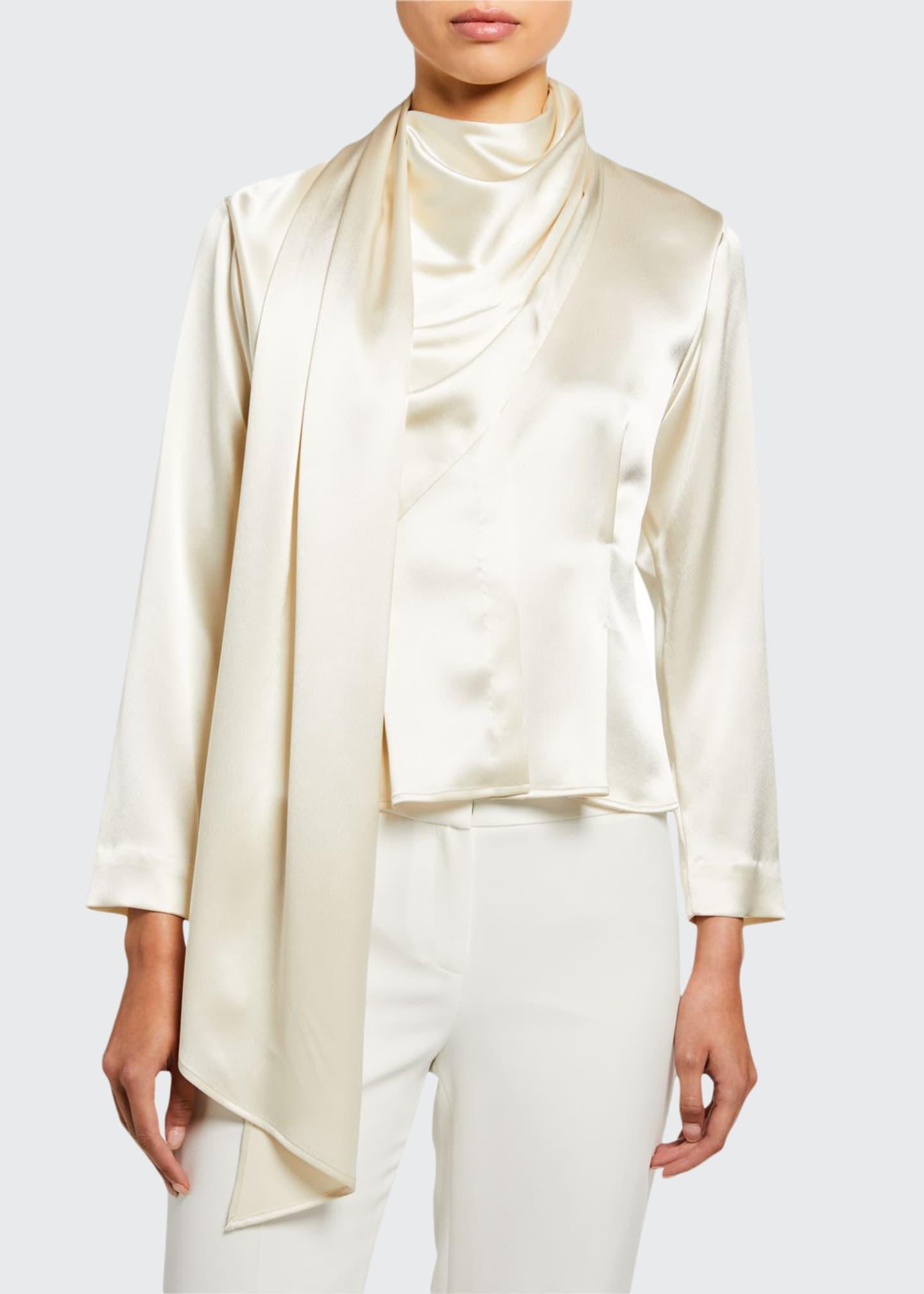 Deveaux New York Silk Satin Draped Scarf Shirt