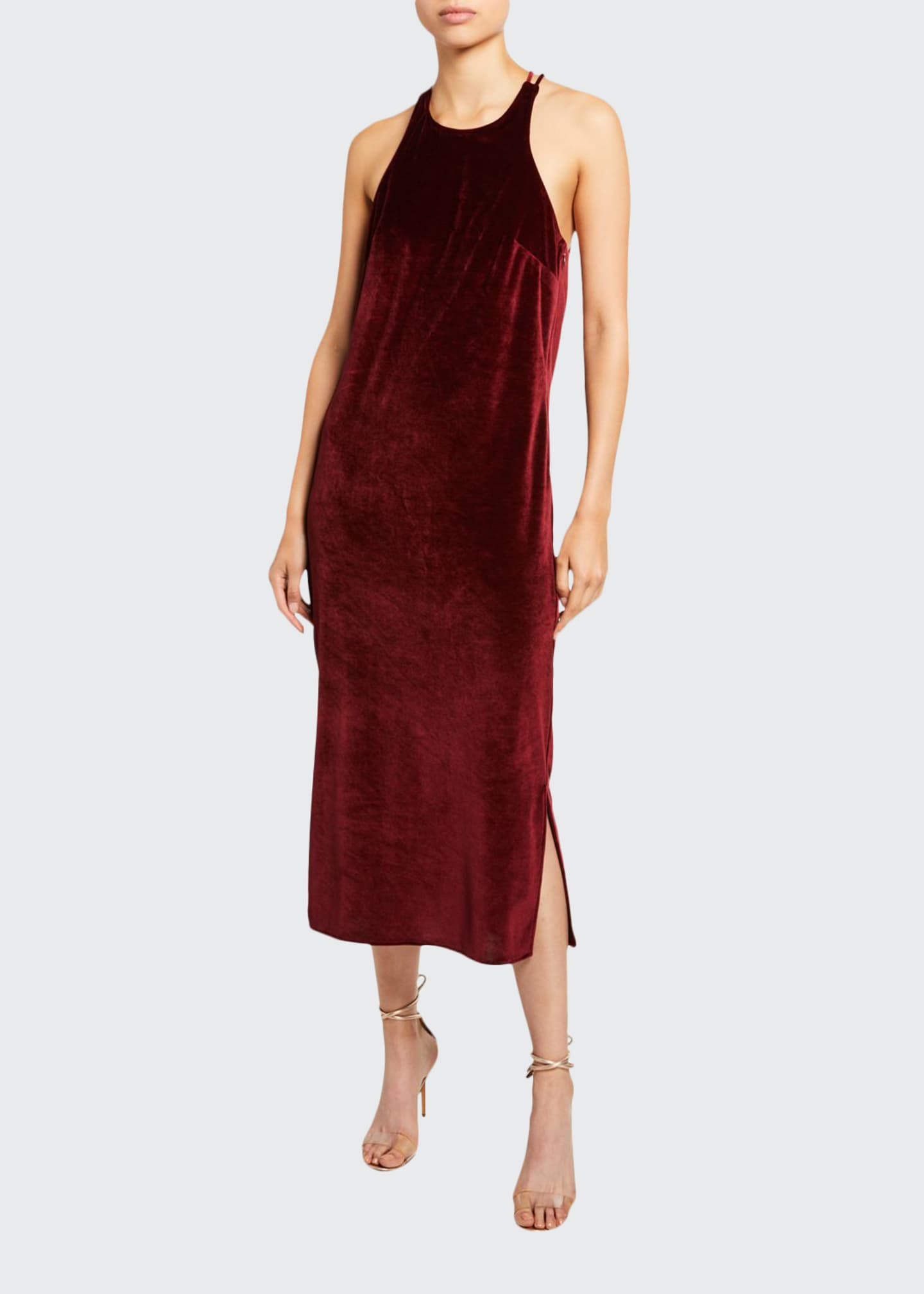 Image 1 of 3: Velvet Draped Back Dress