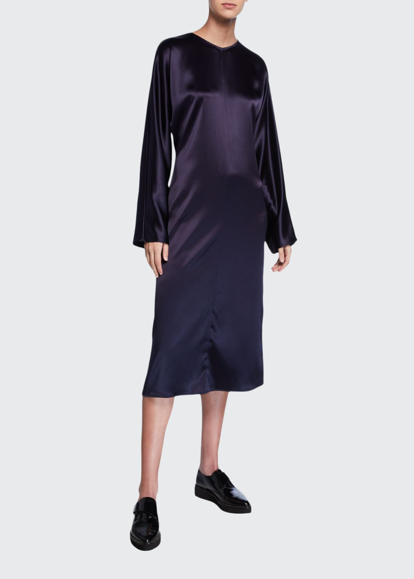 Image 1 of 2: Charmeuse Long-Sleeve Dress