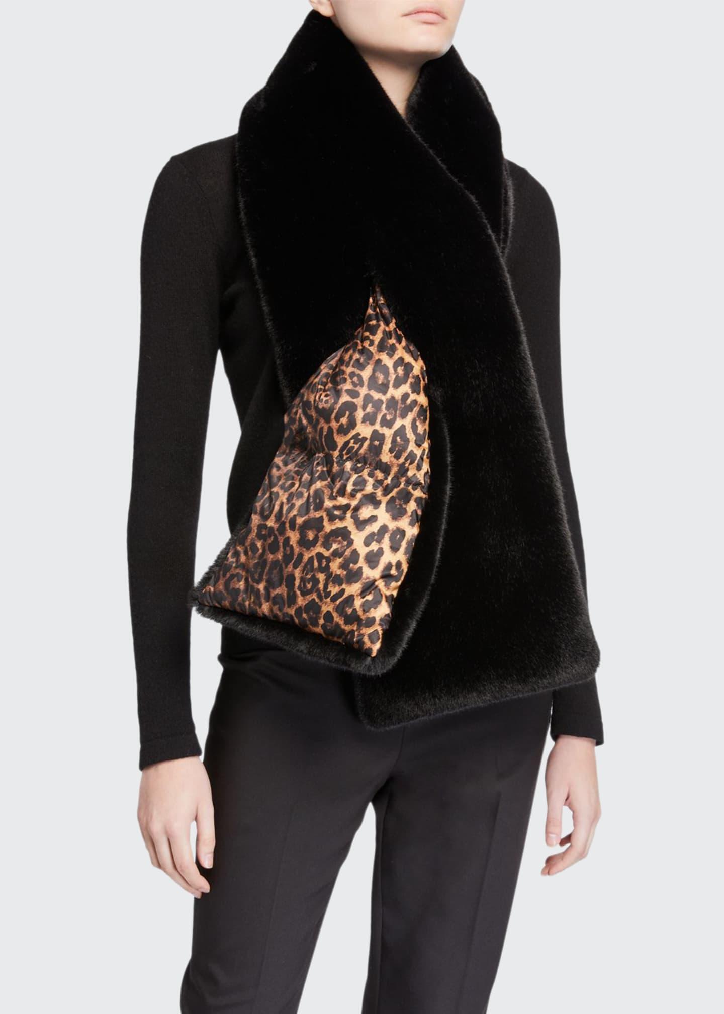 Heurueh Leopard Print & Faux Fur Double-Face Puffer