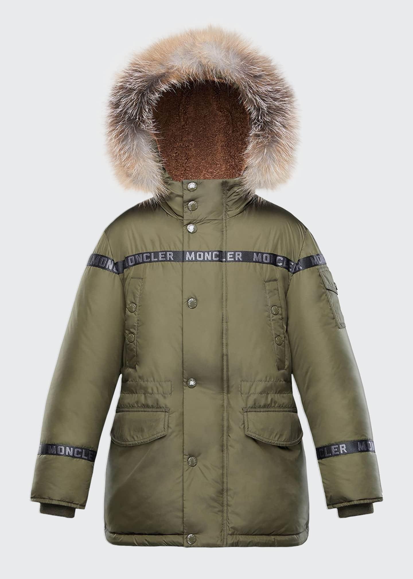 Moncler Boys' Naussac Hooded Coat w/ Fox Fur