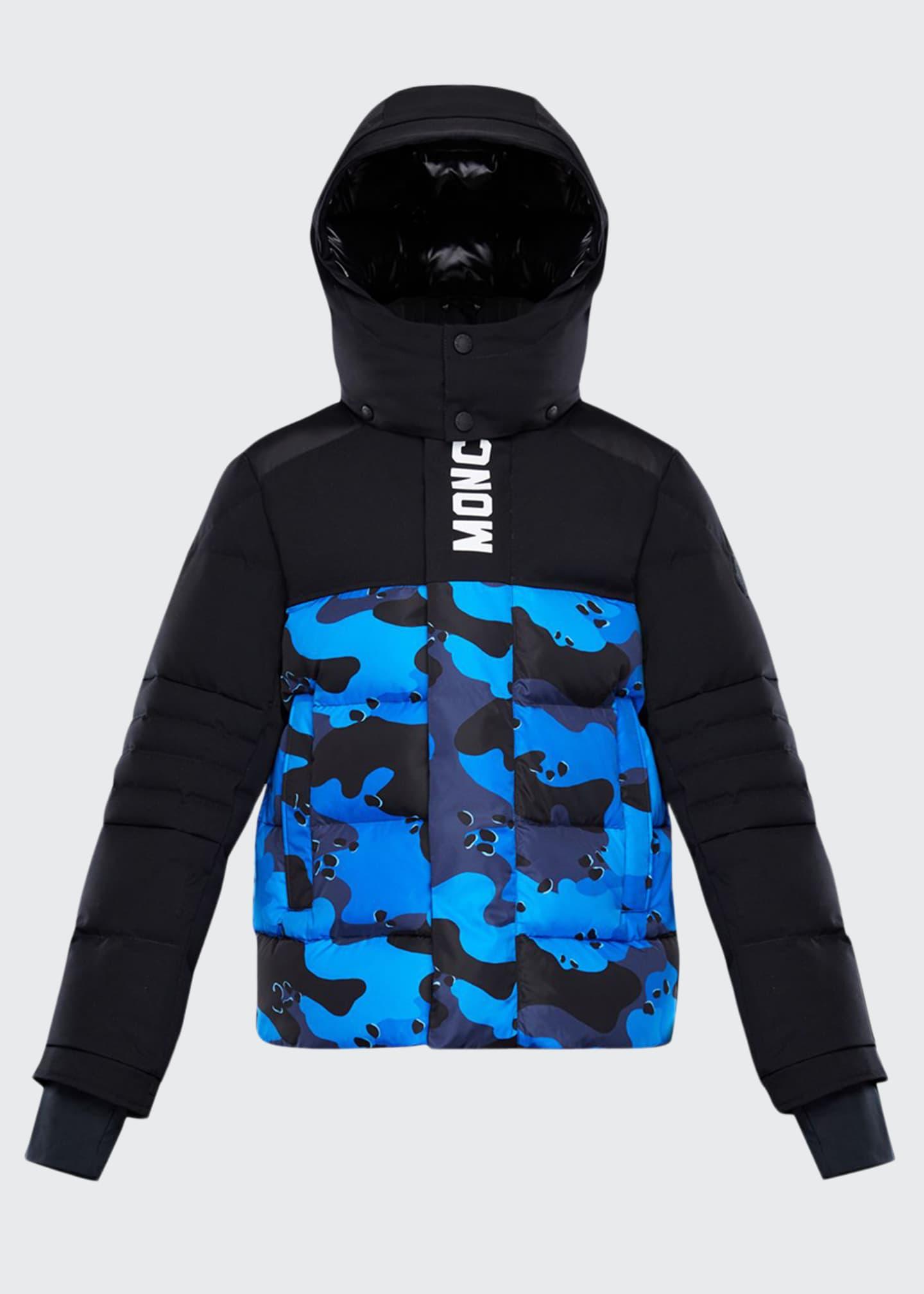 Moncler Apron Detachable-Hood Quilted Jacket w/ Camo Print,