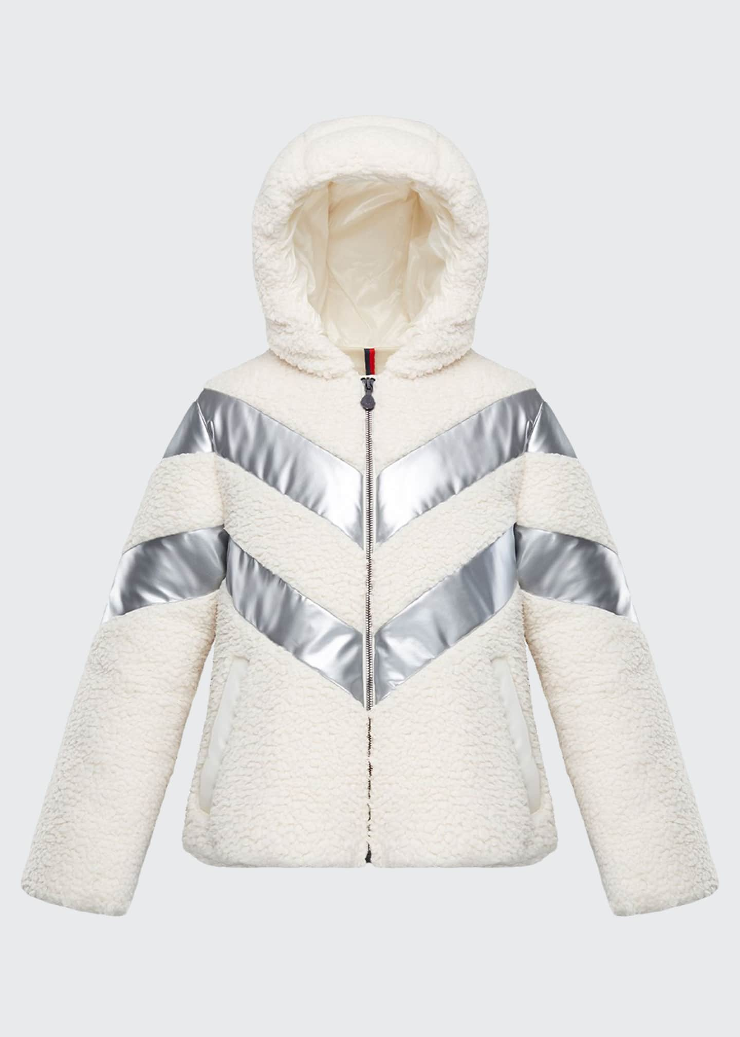 Moncler Cabourg Chevron-Striped Hooded Coat, Size 4-6