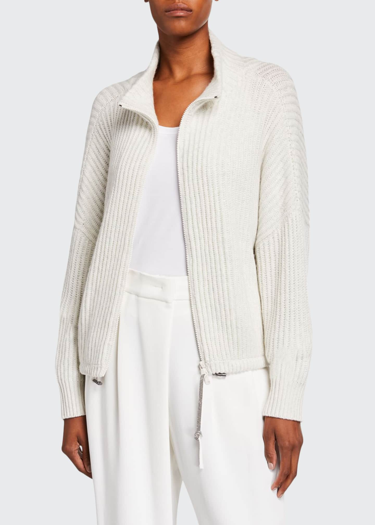 Brunello Cucinelli Cashmere Sparkle Zip-Front Sweater