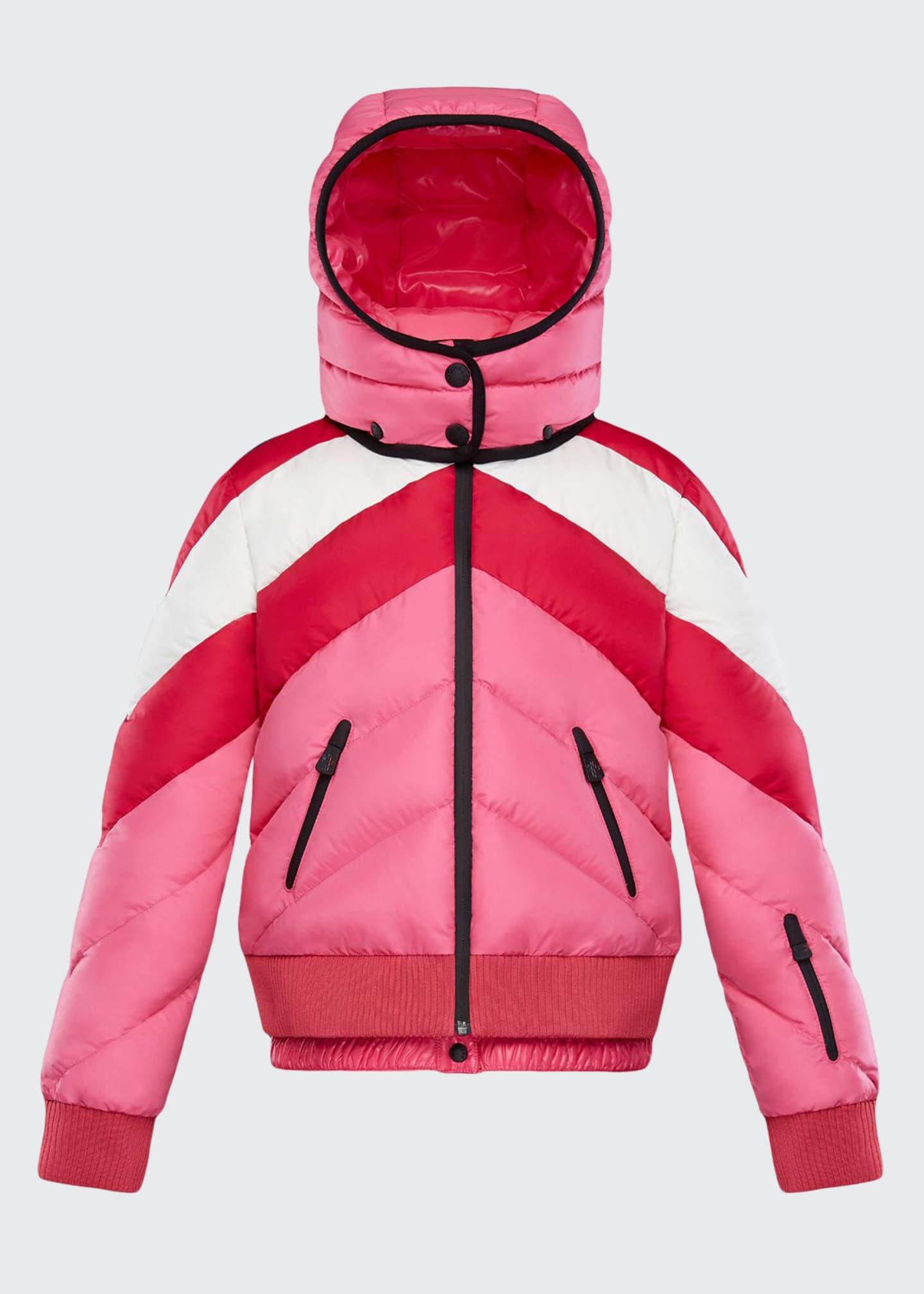 Moncler Charix Detachable-Hood Colorblock Puffer Coat, Size 4-6