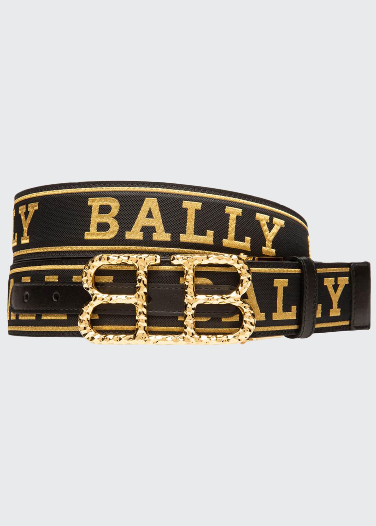 Bally Men's Britt Hammered-Buckle Belt