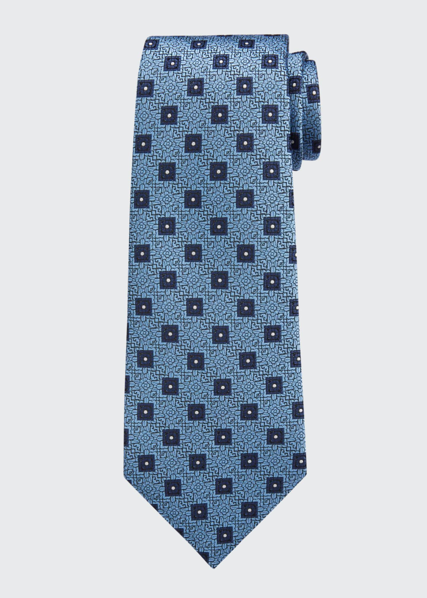Image 1 of 1: Men's Circles & Boxes Silk Tie