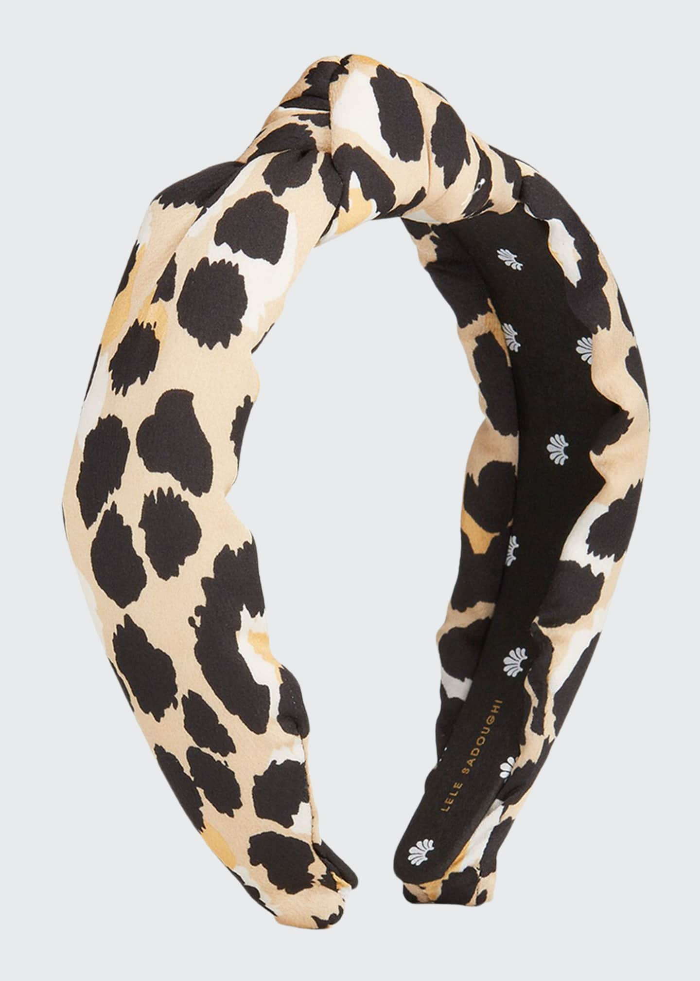 Image 1 of 1: Silk-Blend Leopard Print Knotted Headband