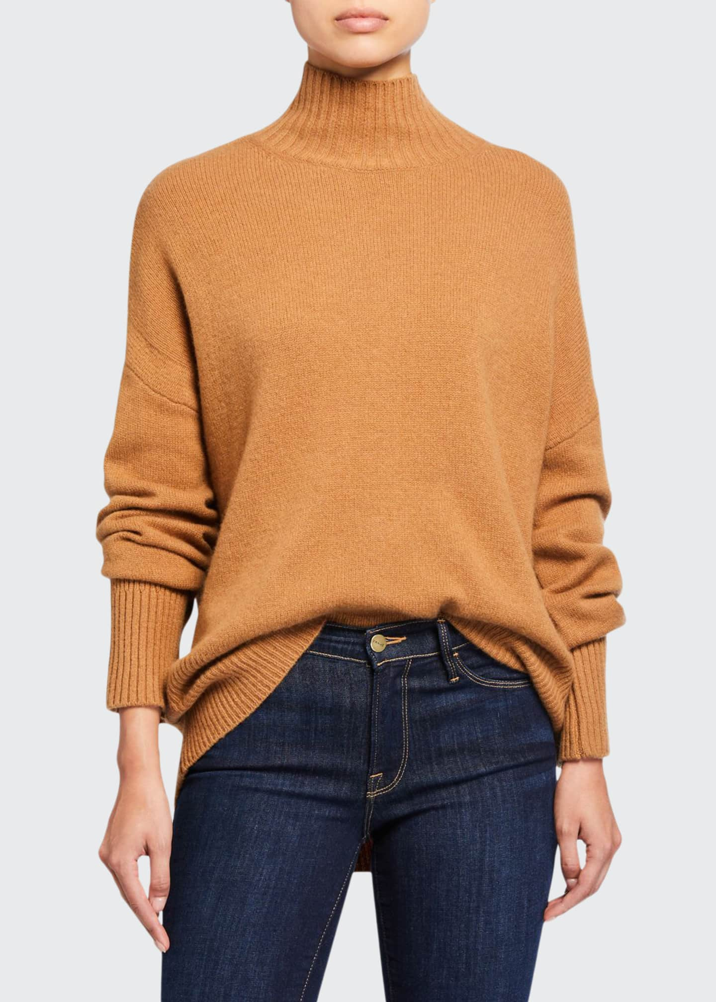 FRAME High-Low Sustainable Cashmere Turtleneck Sweater