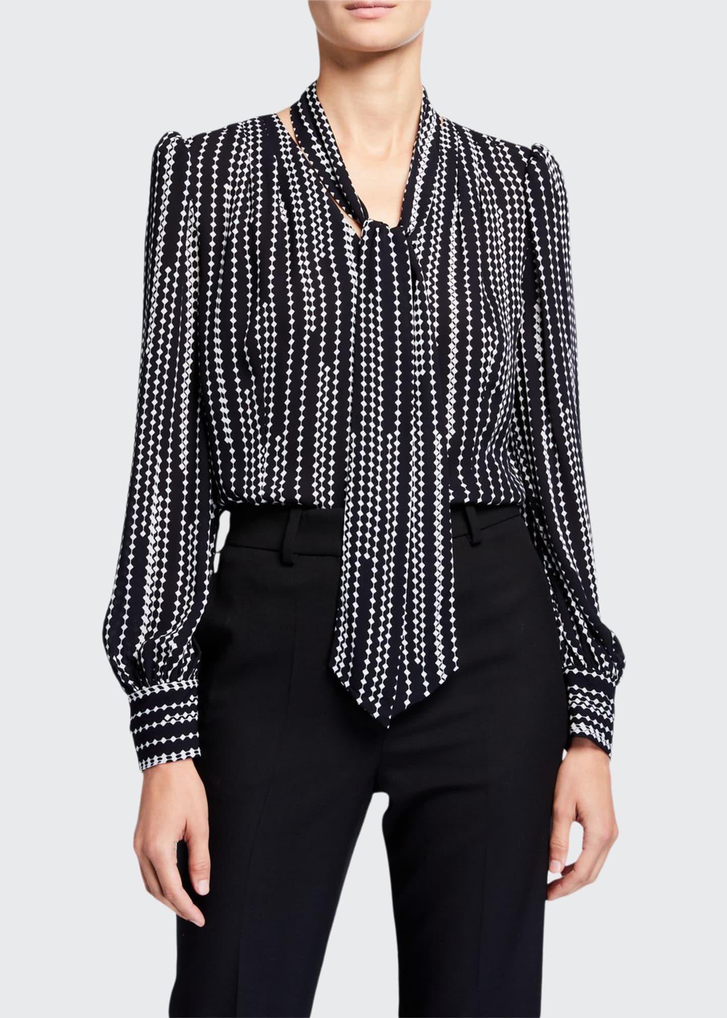 Elie Tahari Percy Printed Tie-Neck Shirt