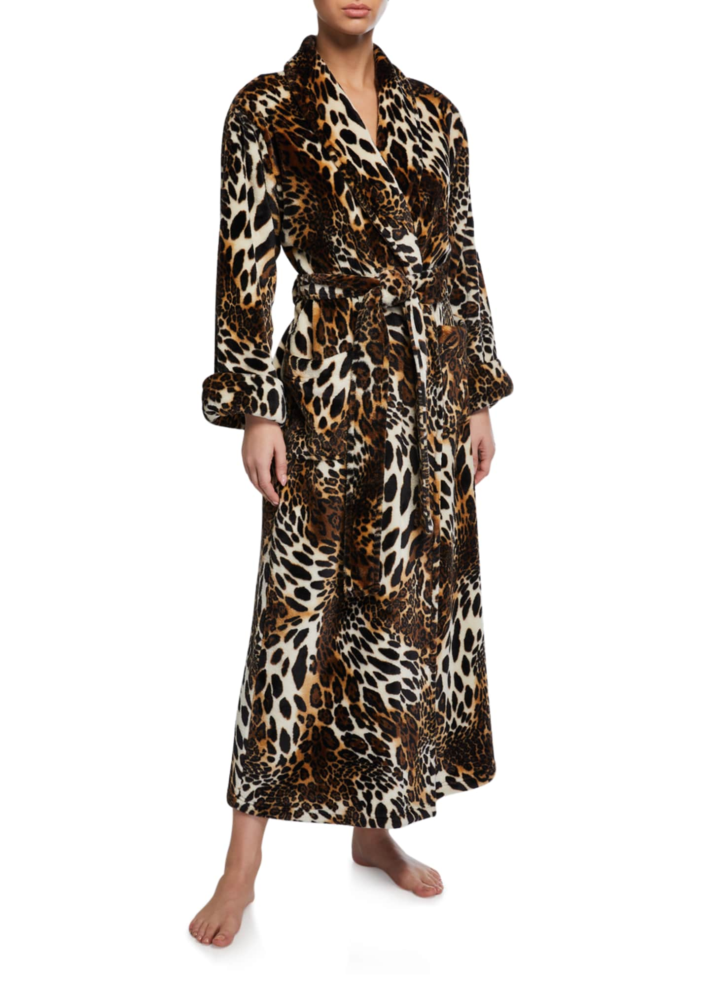 Image 1 of 2: Leopard-Print Faux Fur Long Robe